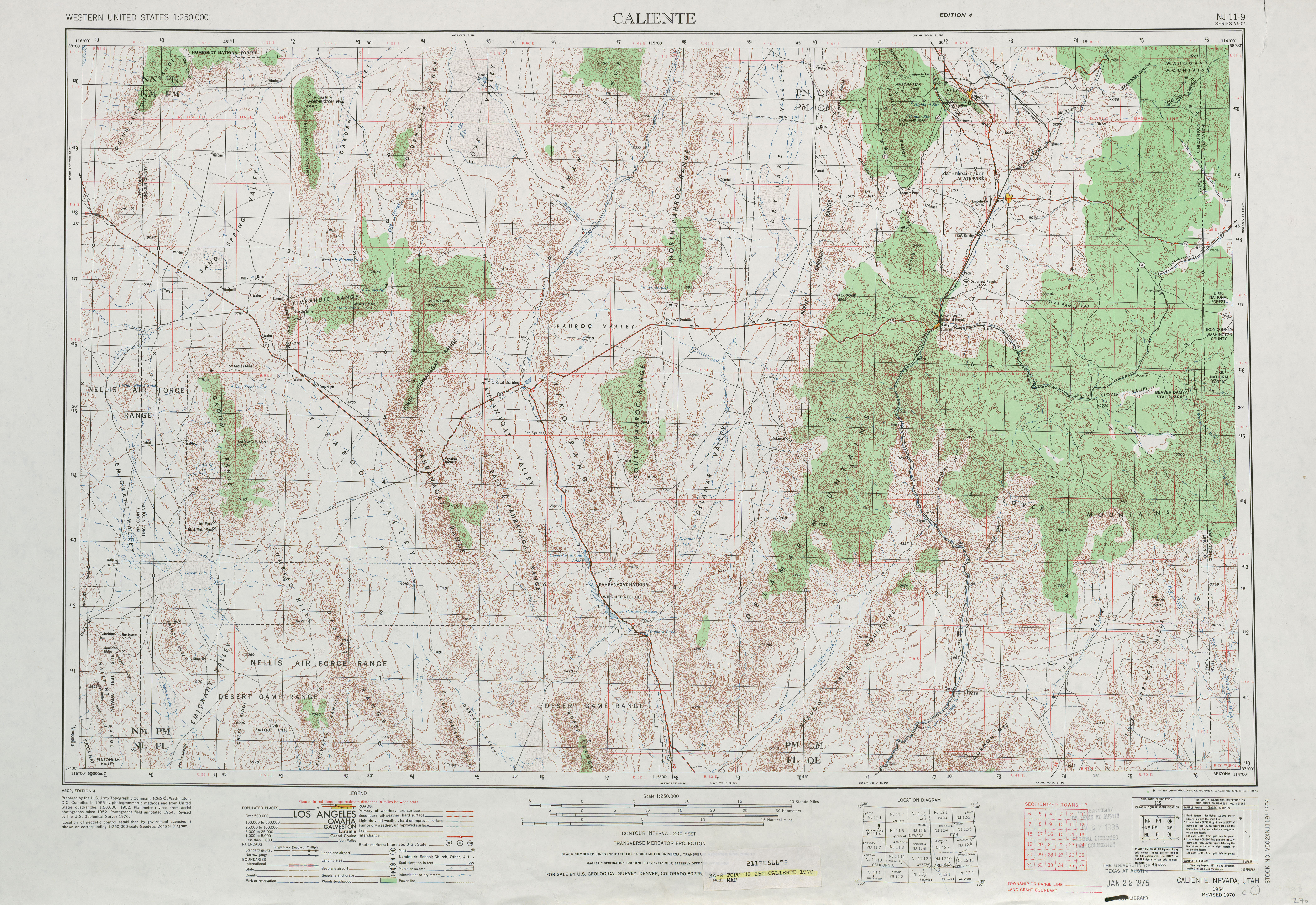 Caliente Topographic Map Sheet, United States 1970