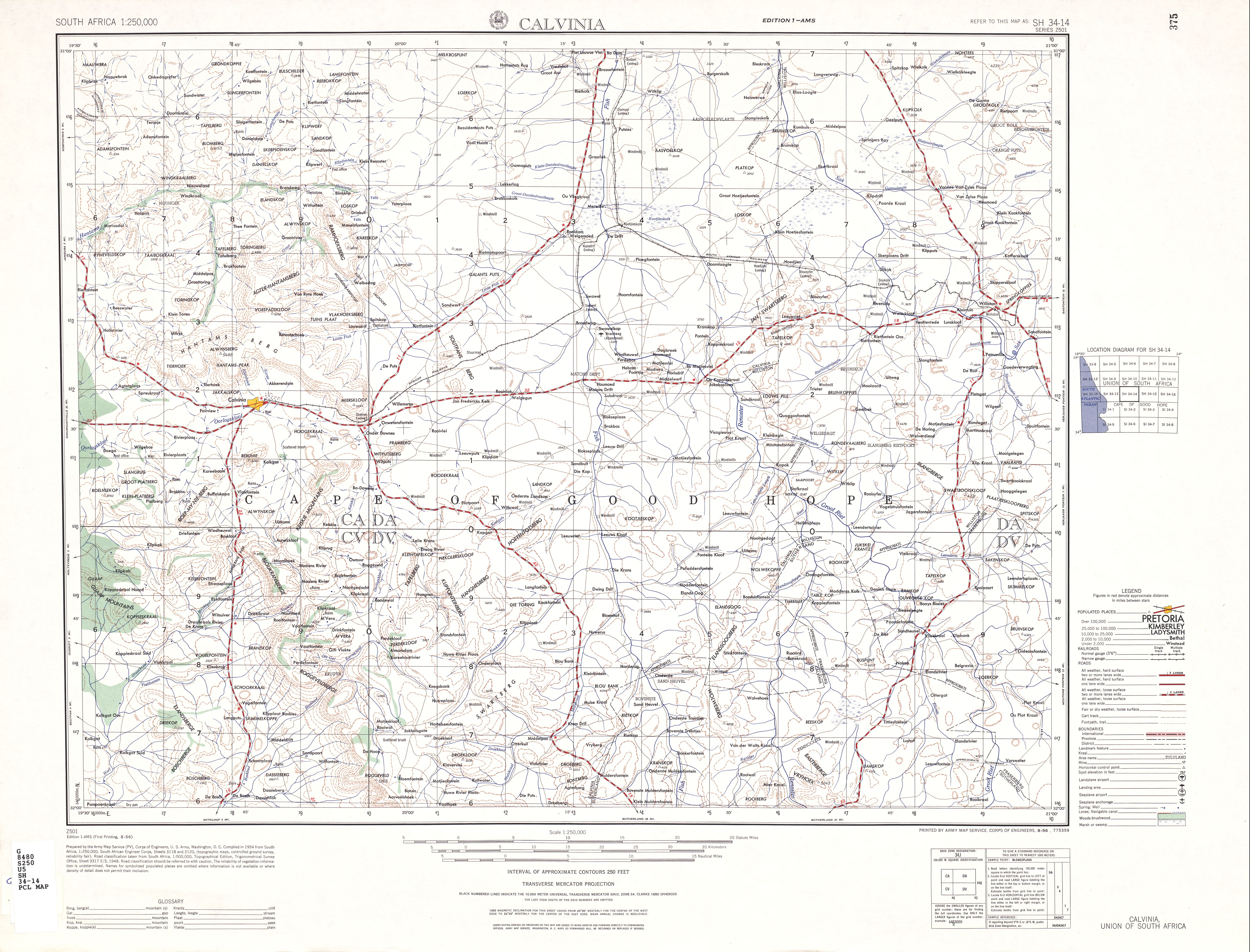 Calvinia Topographic Map Sheet, Southern Africa 1954