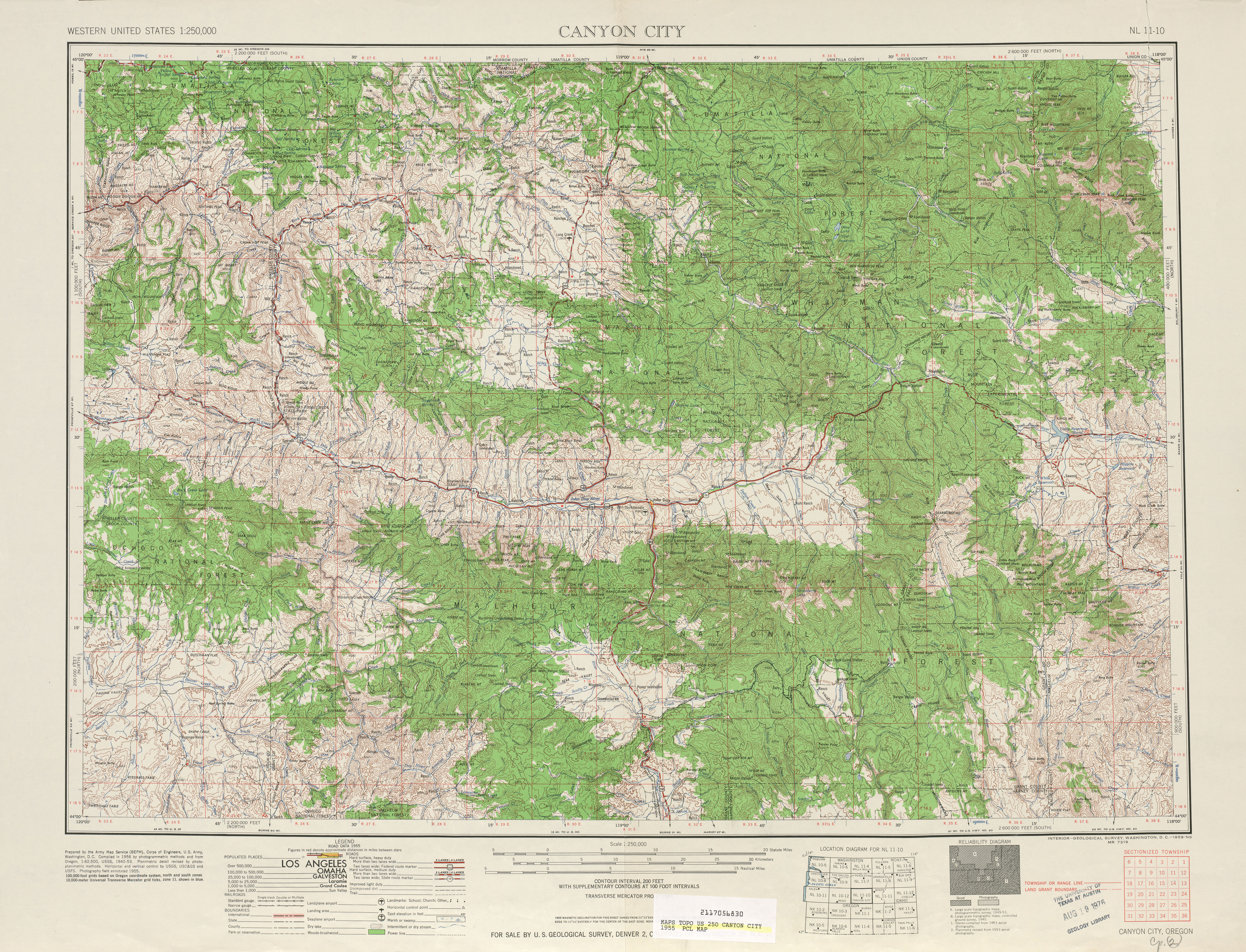Canyon City Topographic Map Sheet, United States 1955