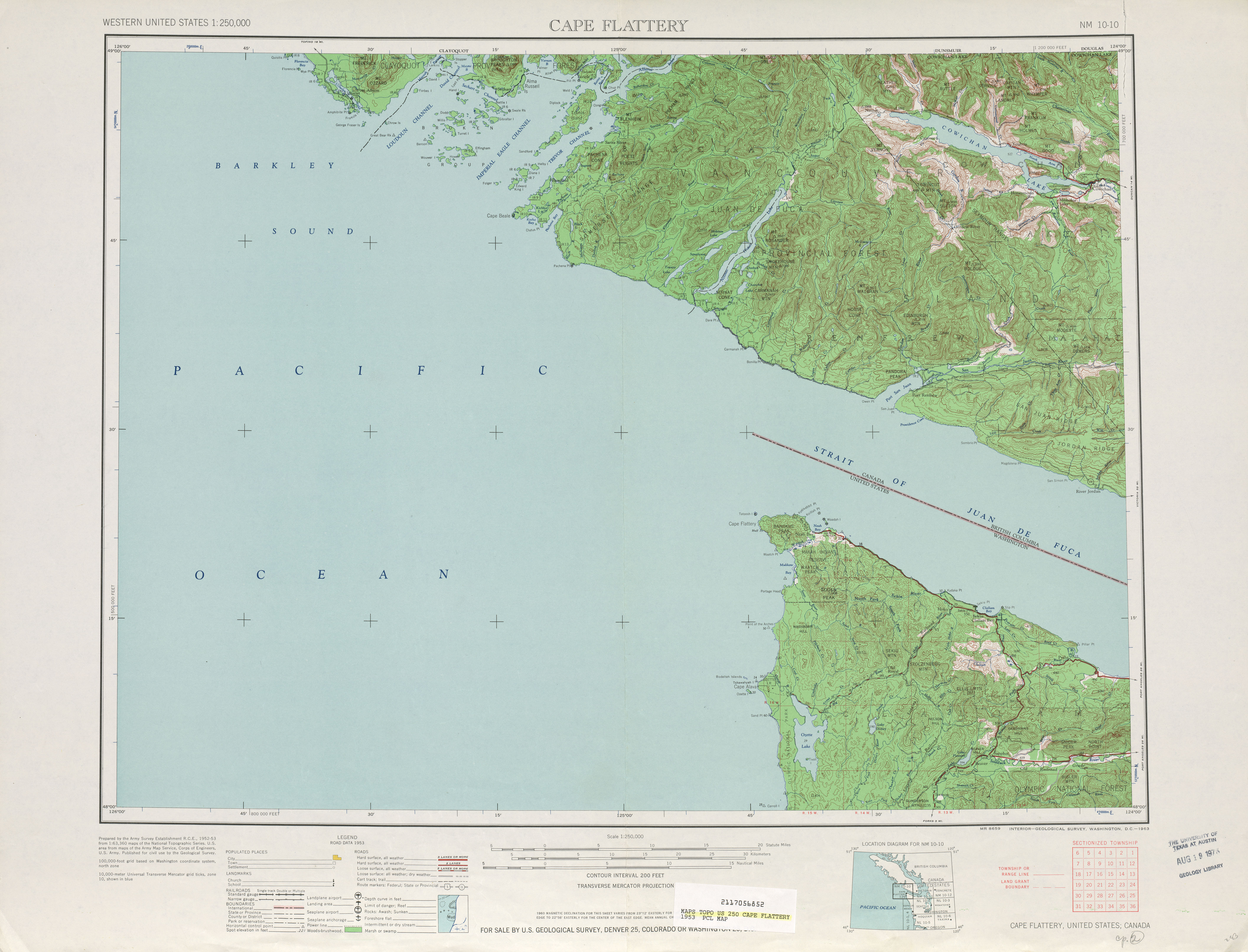 Cape Flattery Topographic Map Sheet, United States 1953