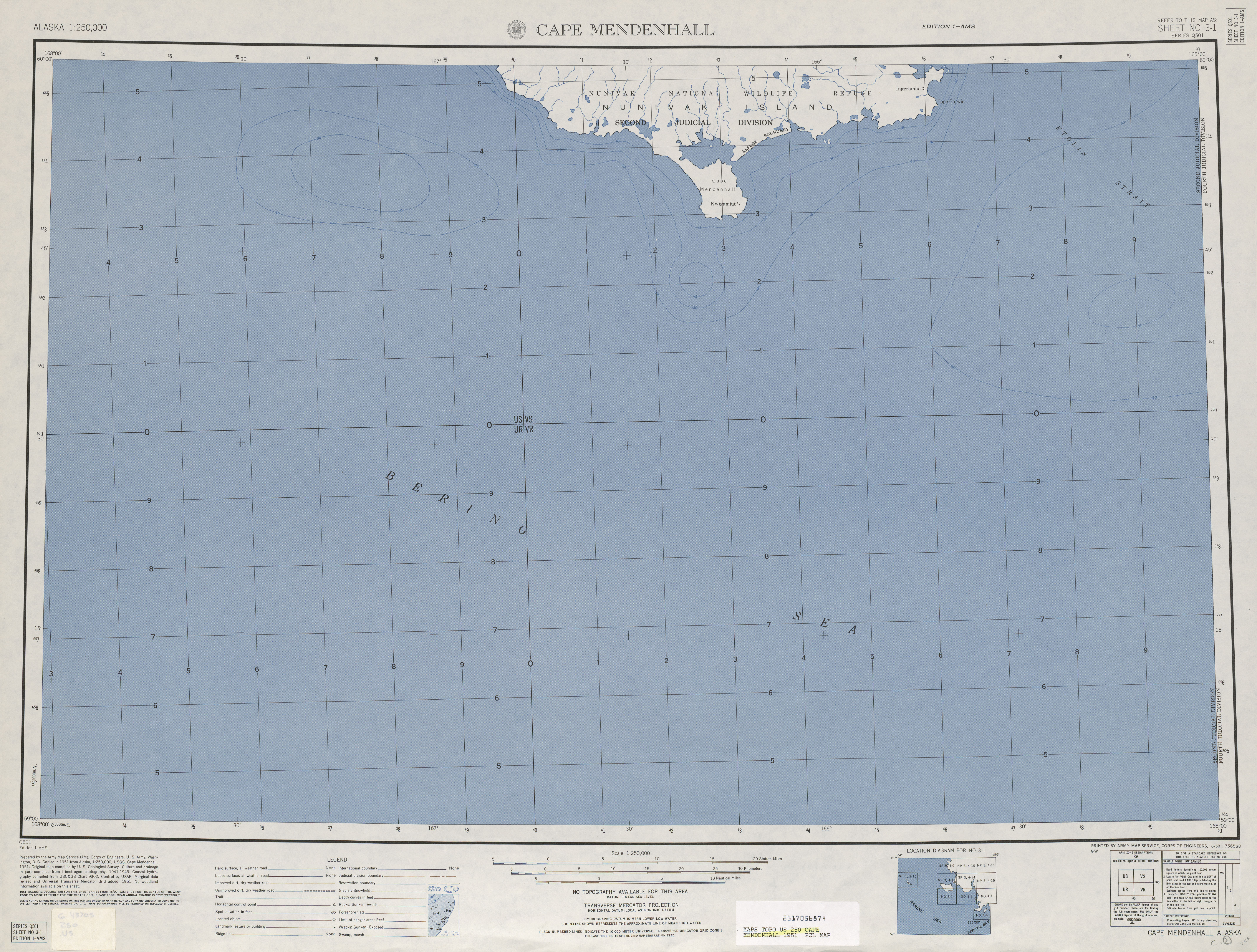 Cape Mendenhall Topographic Map Sheet, United States 1953