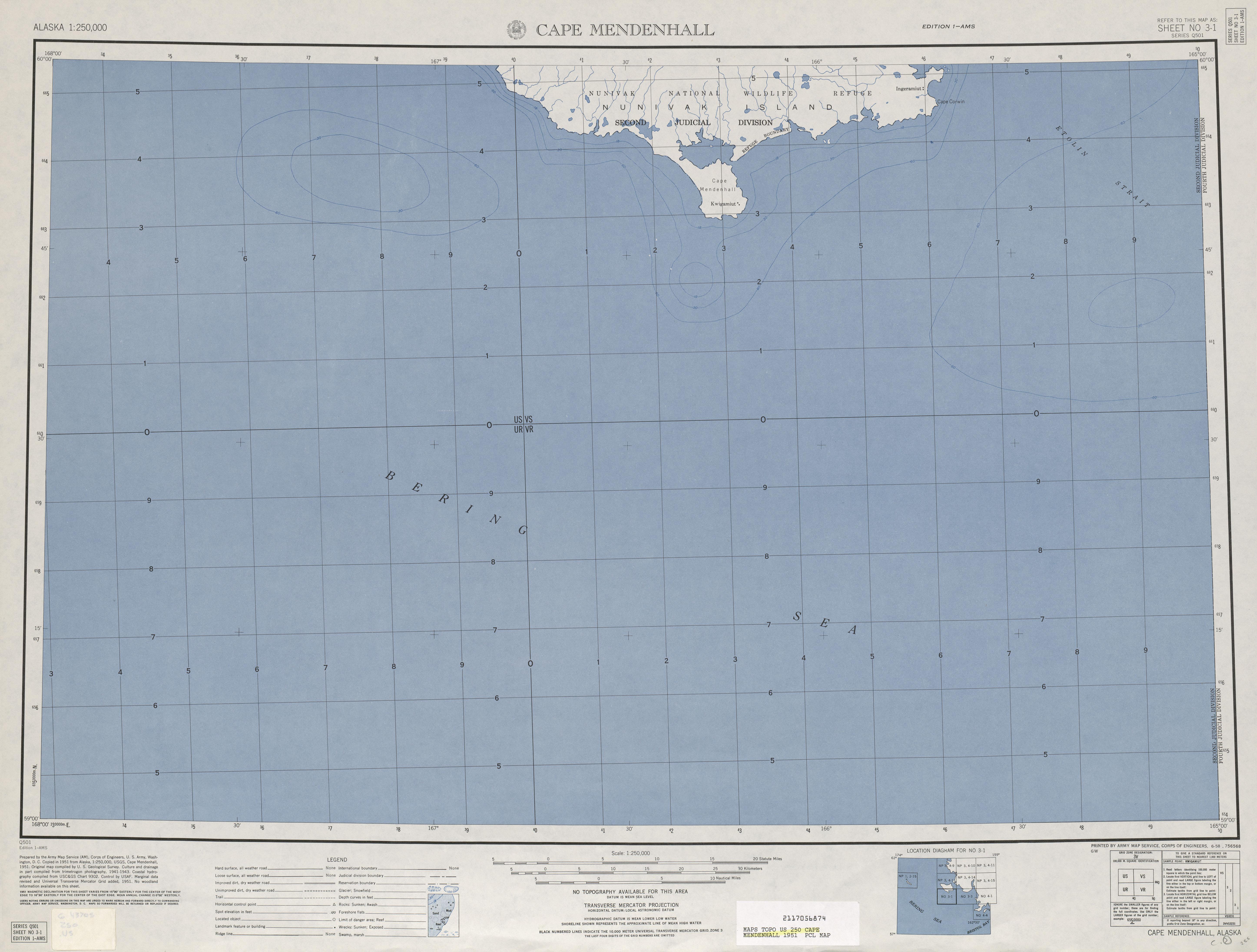 Hoja Cape Mendenhall del Mapa Topográfico de los Estados Unidos 1953