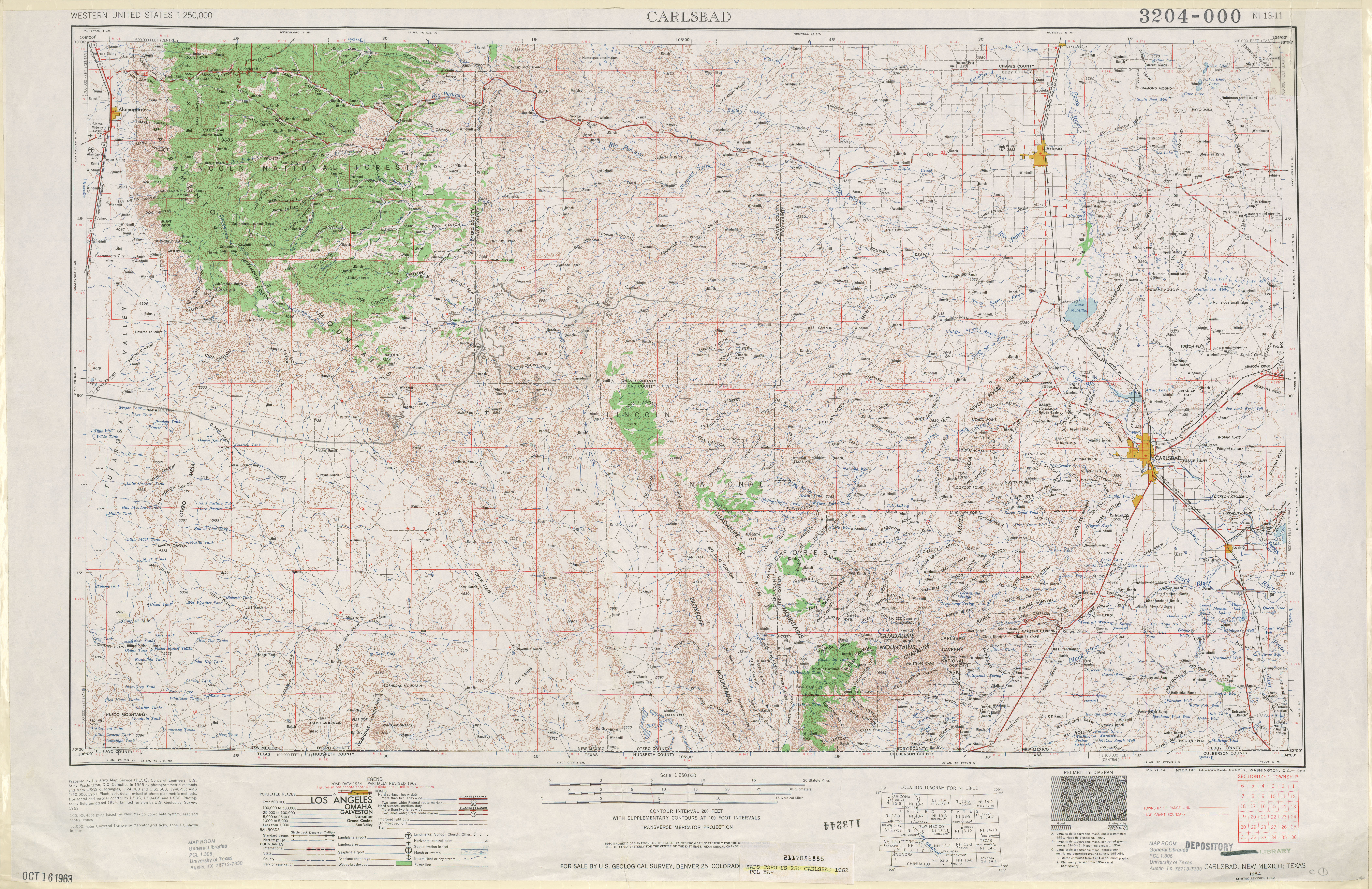 Carlsbad Topographic Map Sheet, United States 1962