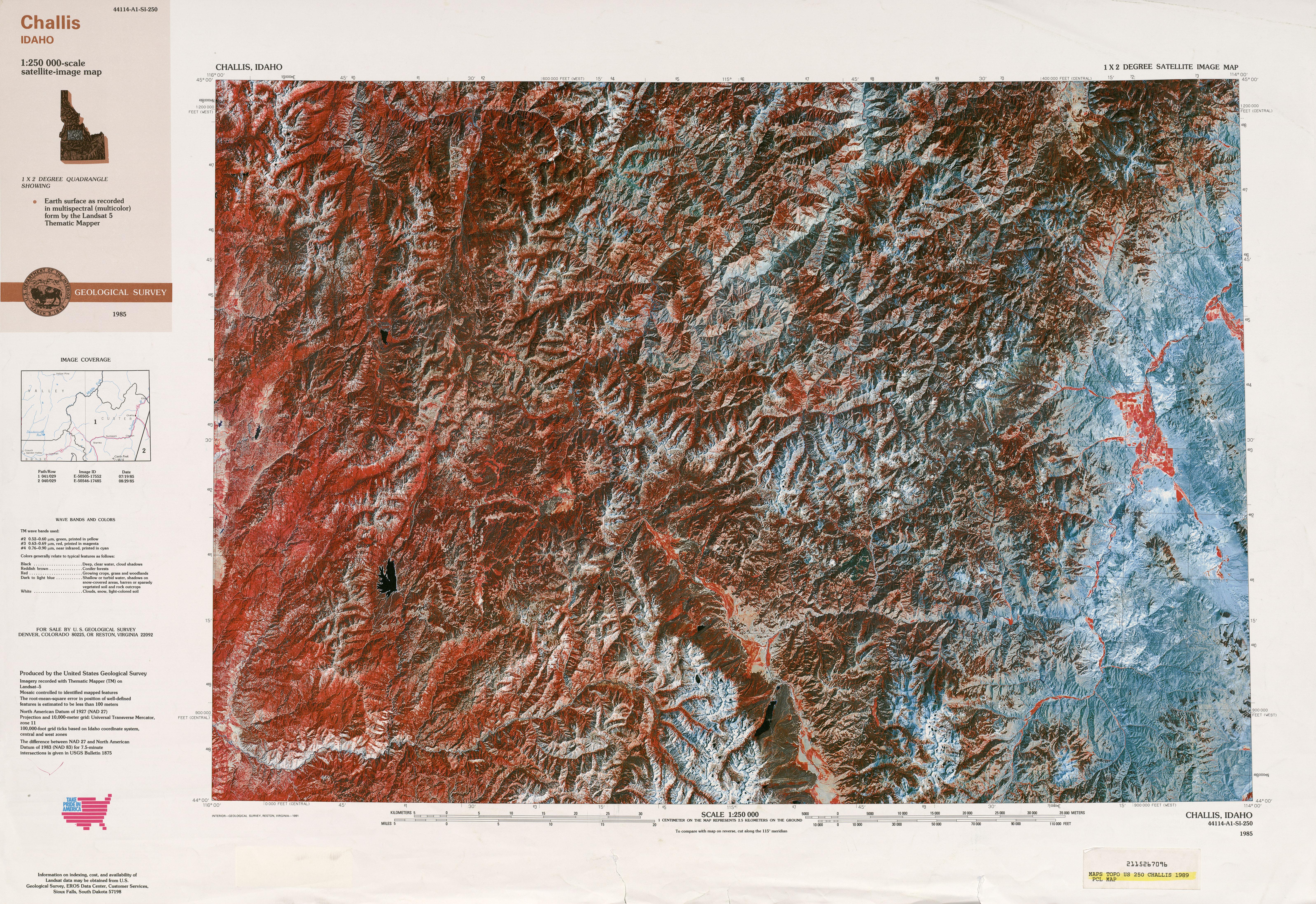Hoja Challis Imagen Satelital, Estados Unidos 1989