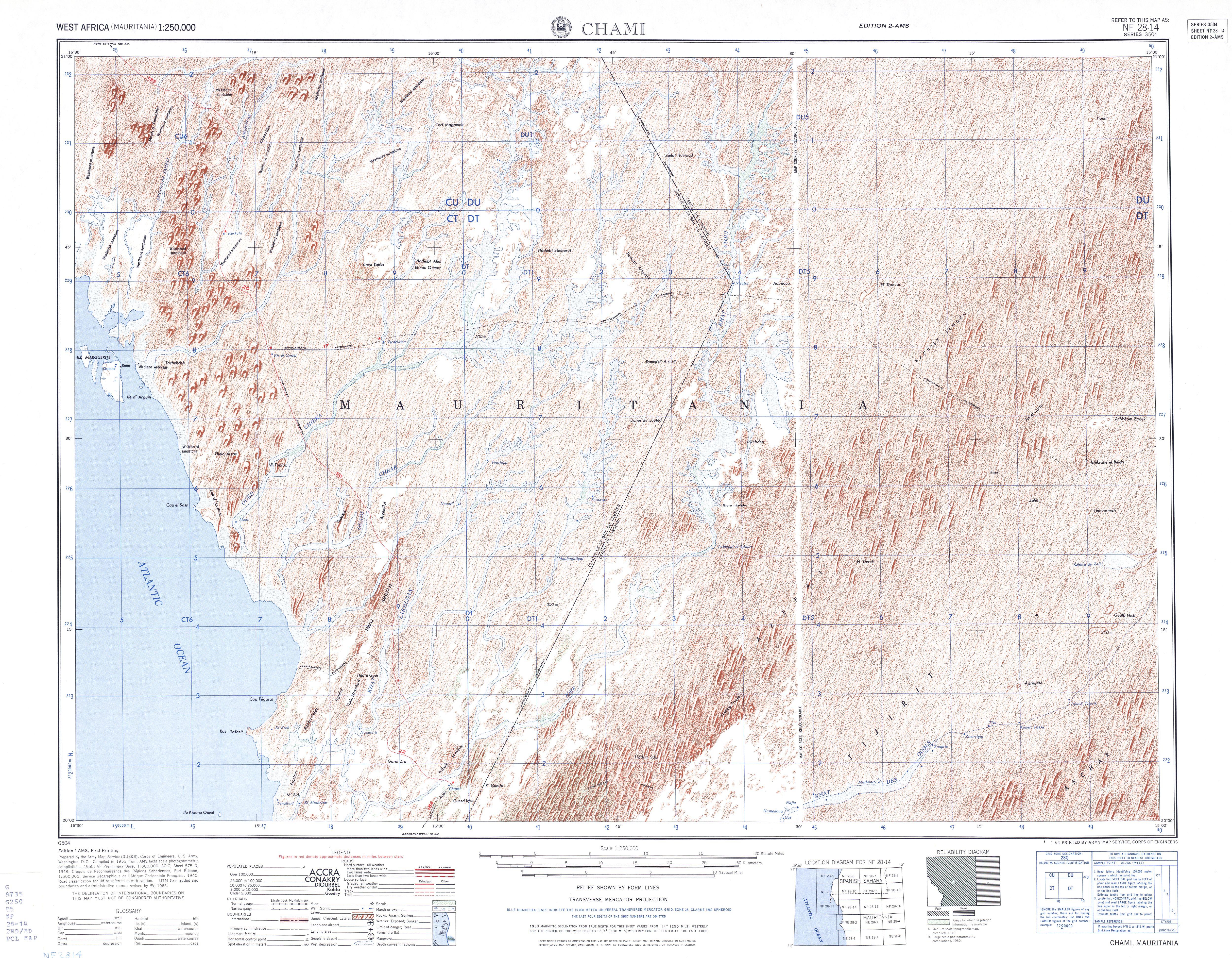 Hoja Chami del Mapa Topográfico de África Occidental 1955