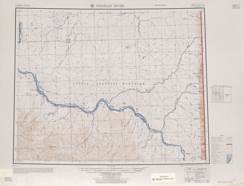 Hoja Charley River del Mapa Topográfico de los Estados Unidos 1951
