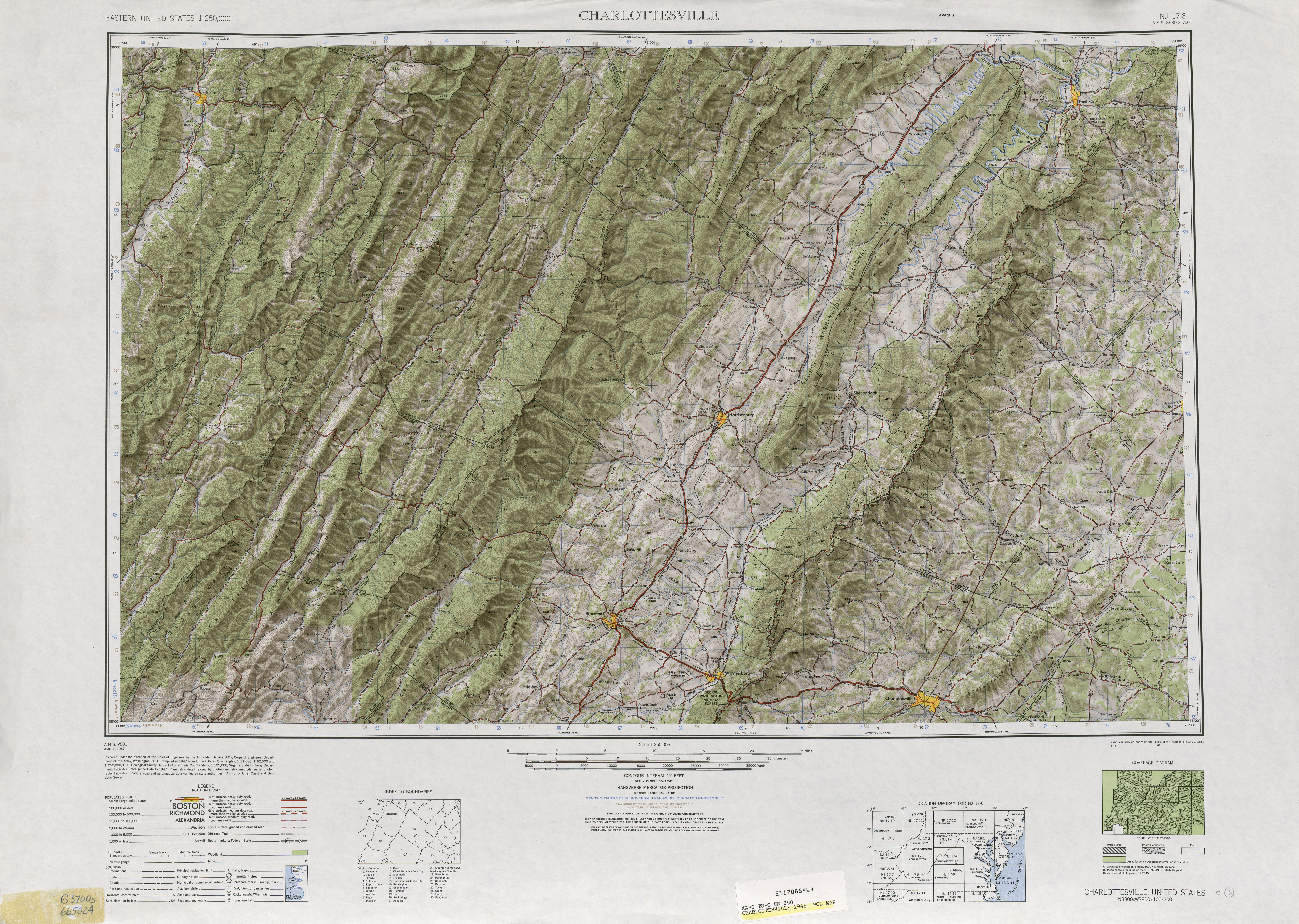 Hoja Charlottesville del Mapa Topográfico de los Estados Unidos 1945