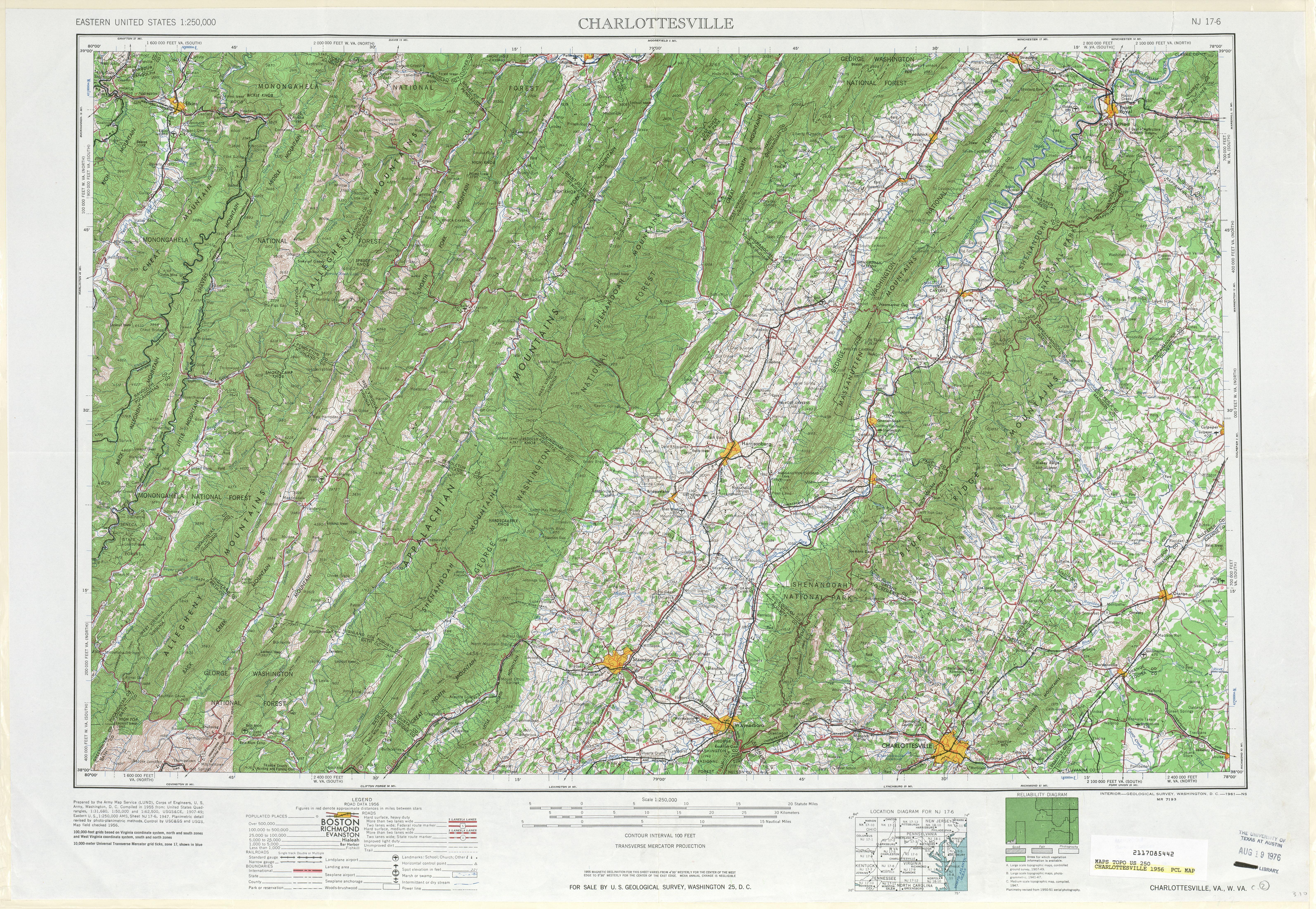 Hoja Charlottesville del Mapa de Relieve Sombreado de los Estados Unidos 1956