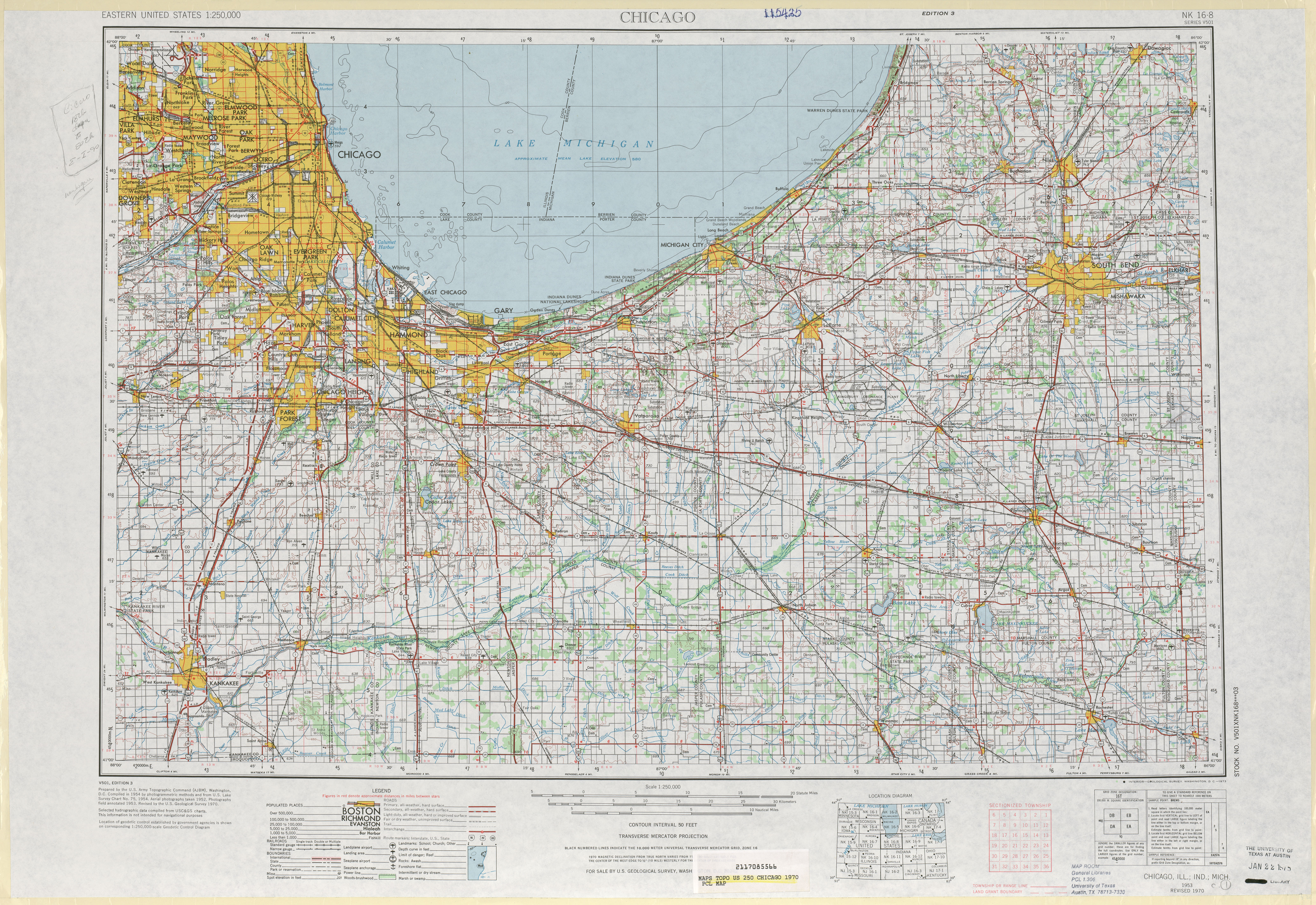 Chicago Topographic Map Sheet, United States 1970