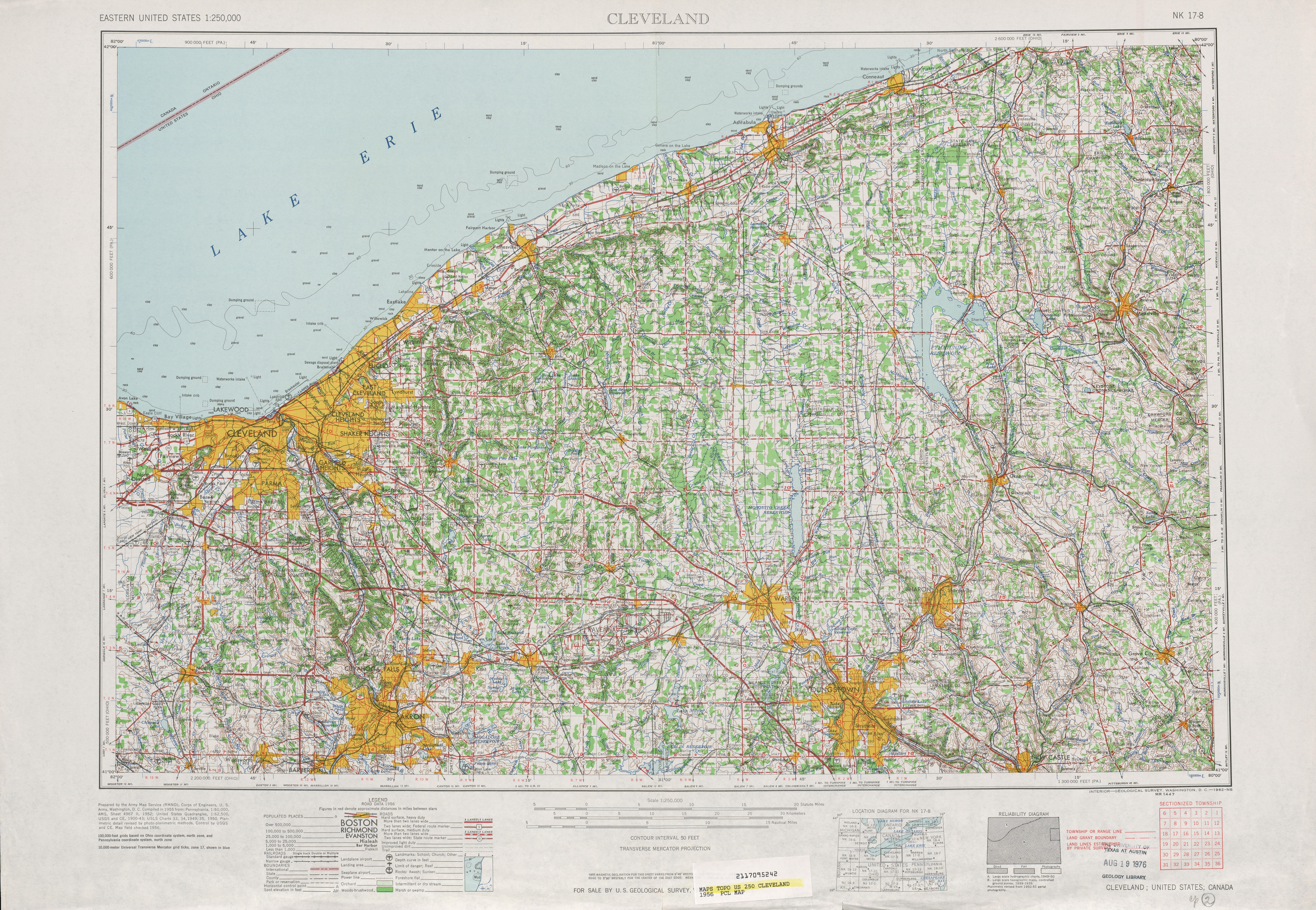 Cleveland Topographic Map Sheet, United States 1956