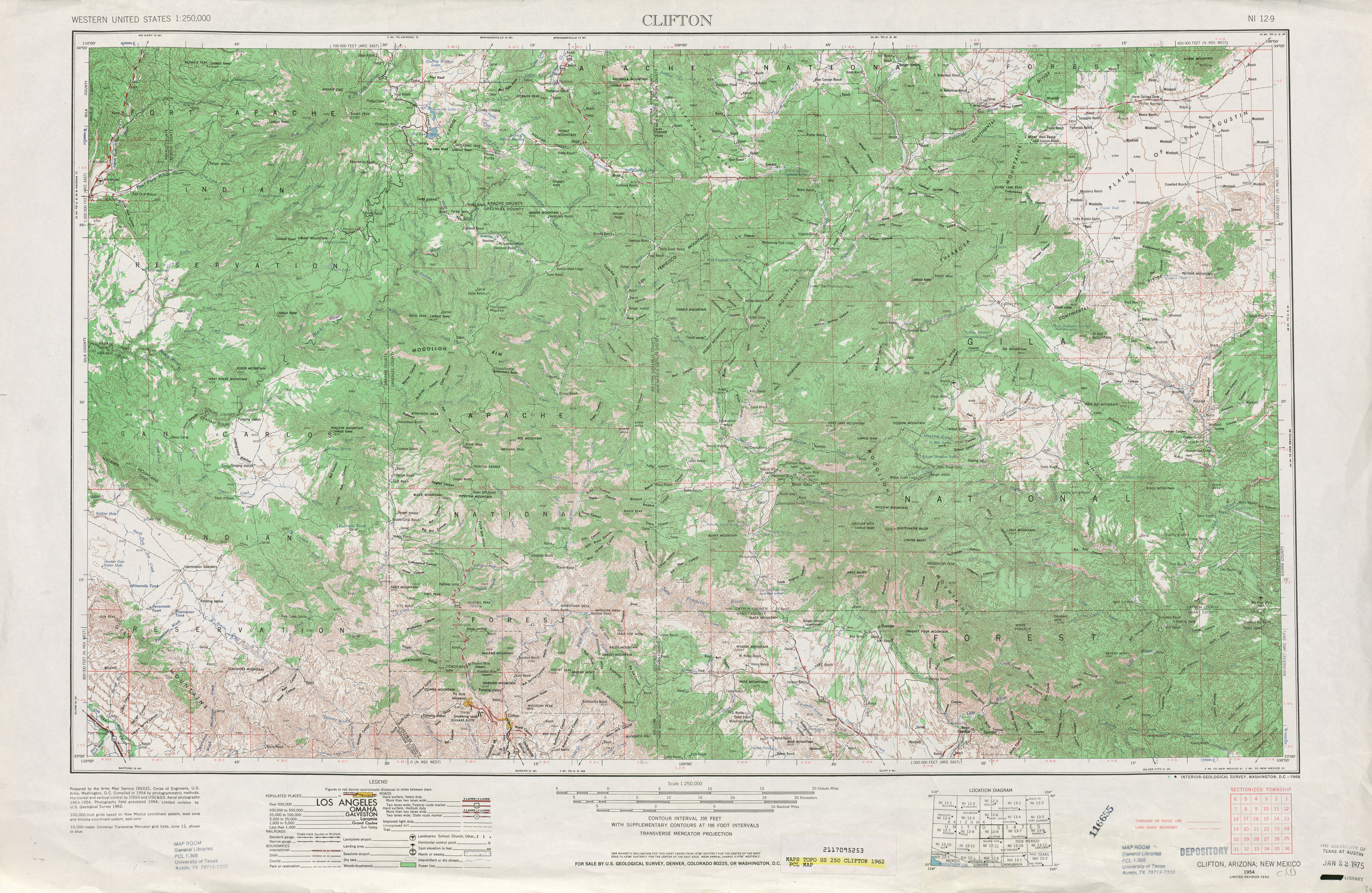 Clifton Topographic Map Sheet, United States 1962