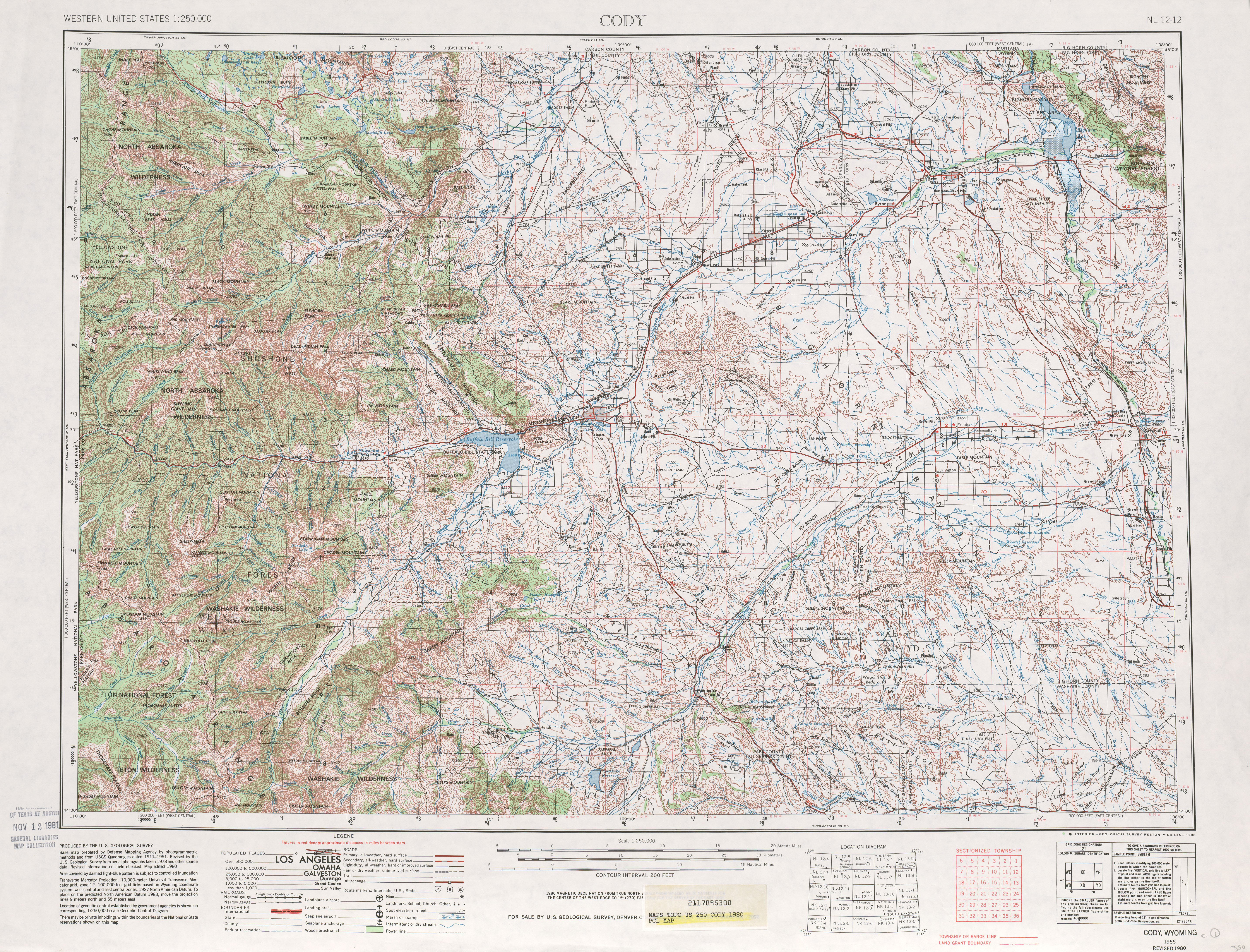 Cody Topographic Map Sheet, United States 1980
