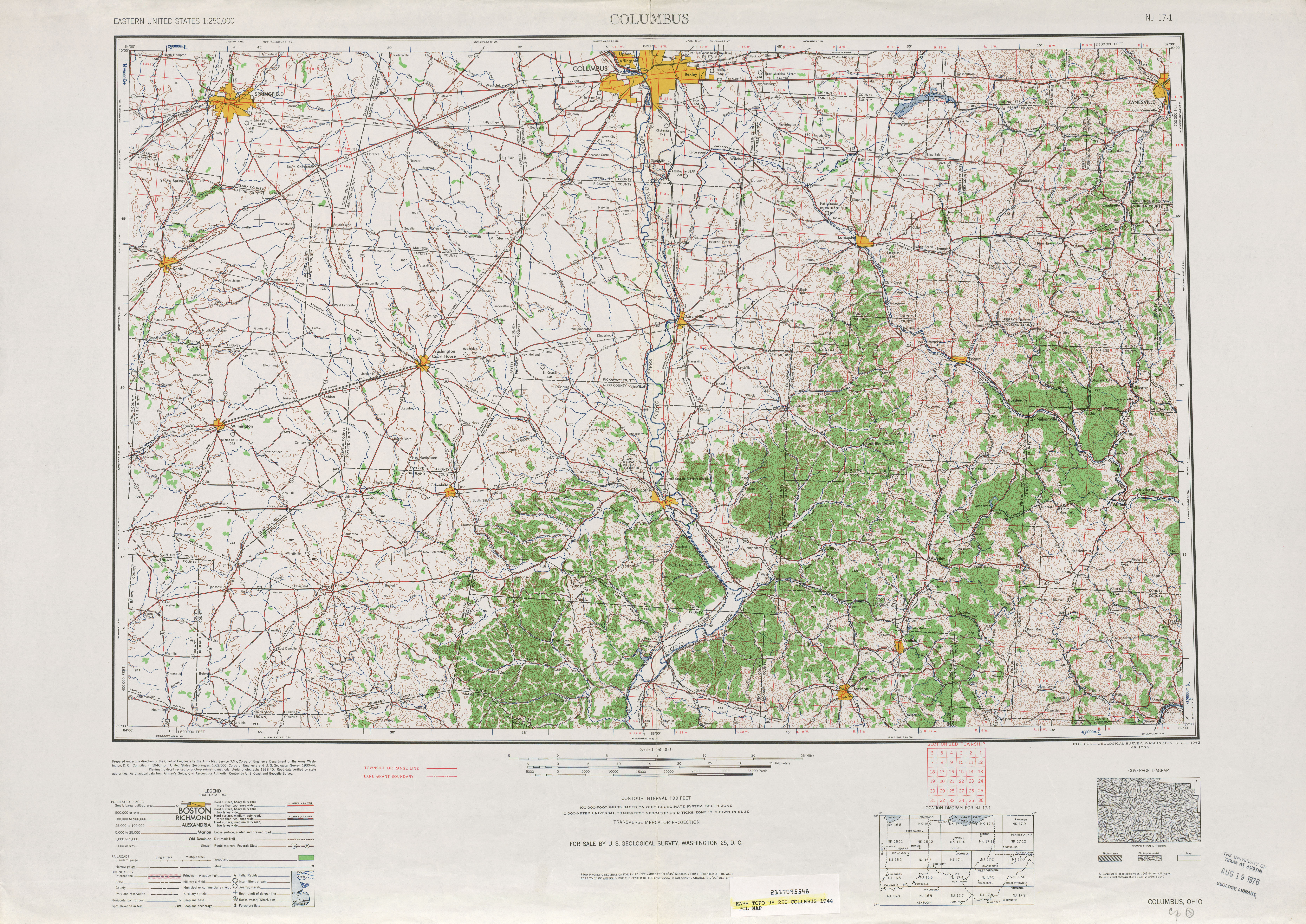 Columbus Topographic Map Sheet, United States 1944