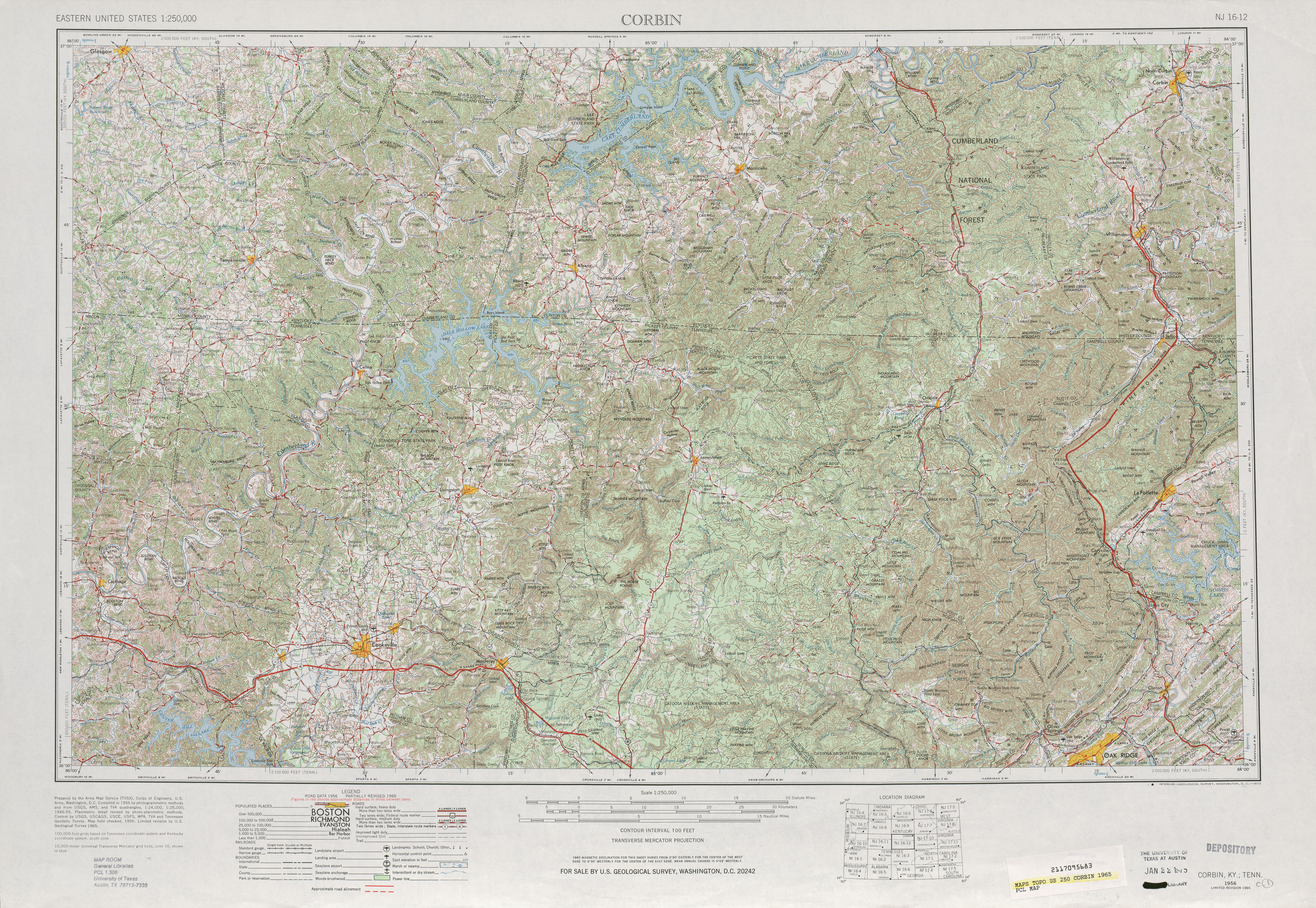 Corbin Topographic Map Sheet, United States 1965