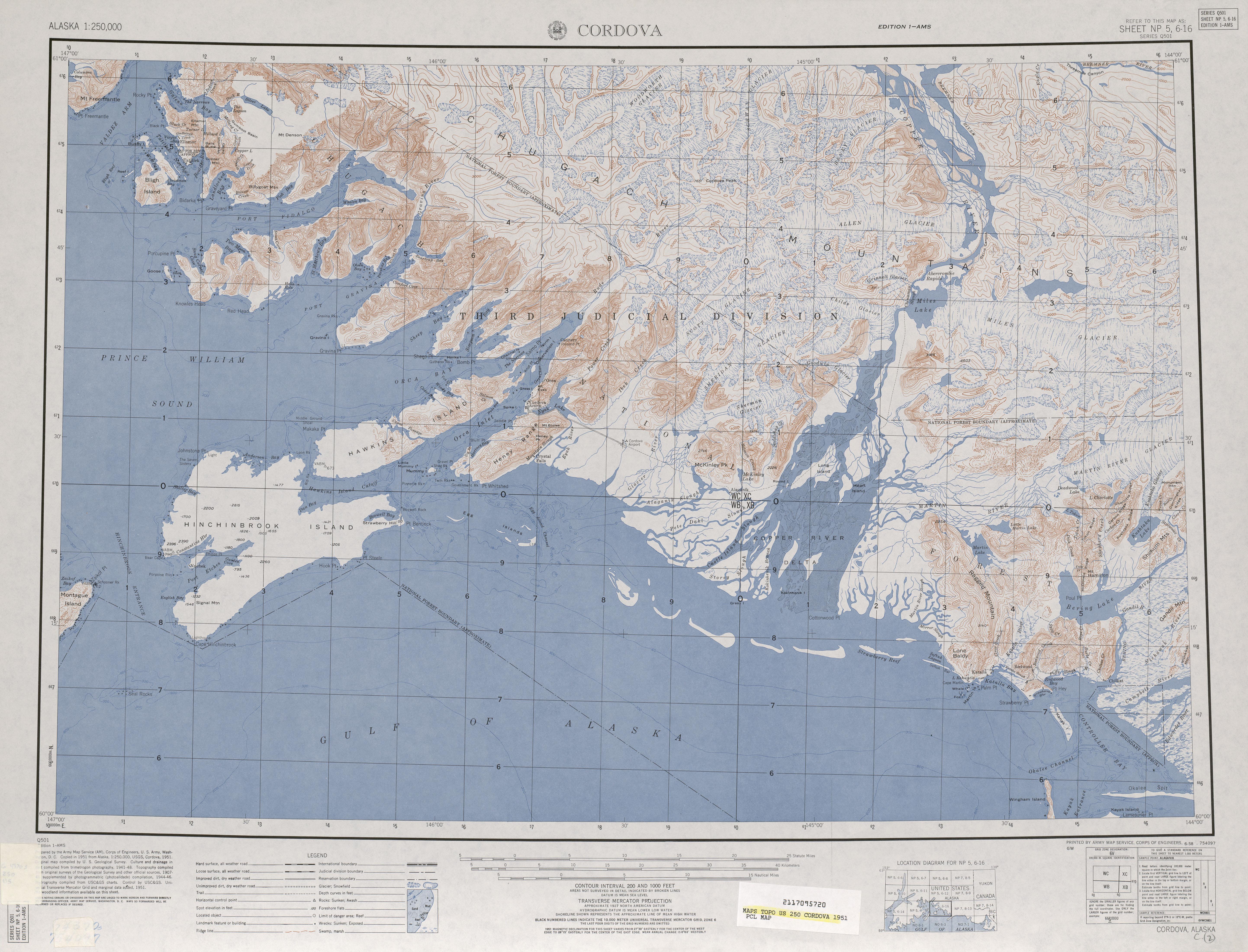 Hoja Cordova del Mapa Topográfico de los Estados Unidos 1951