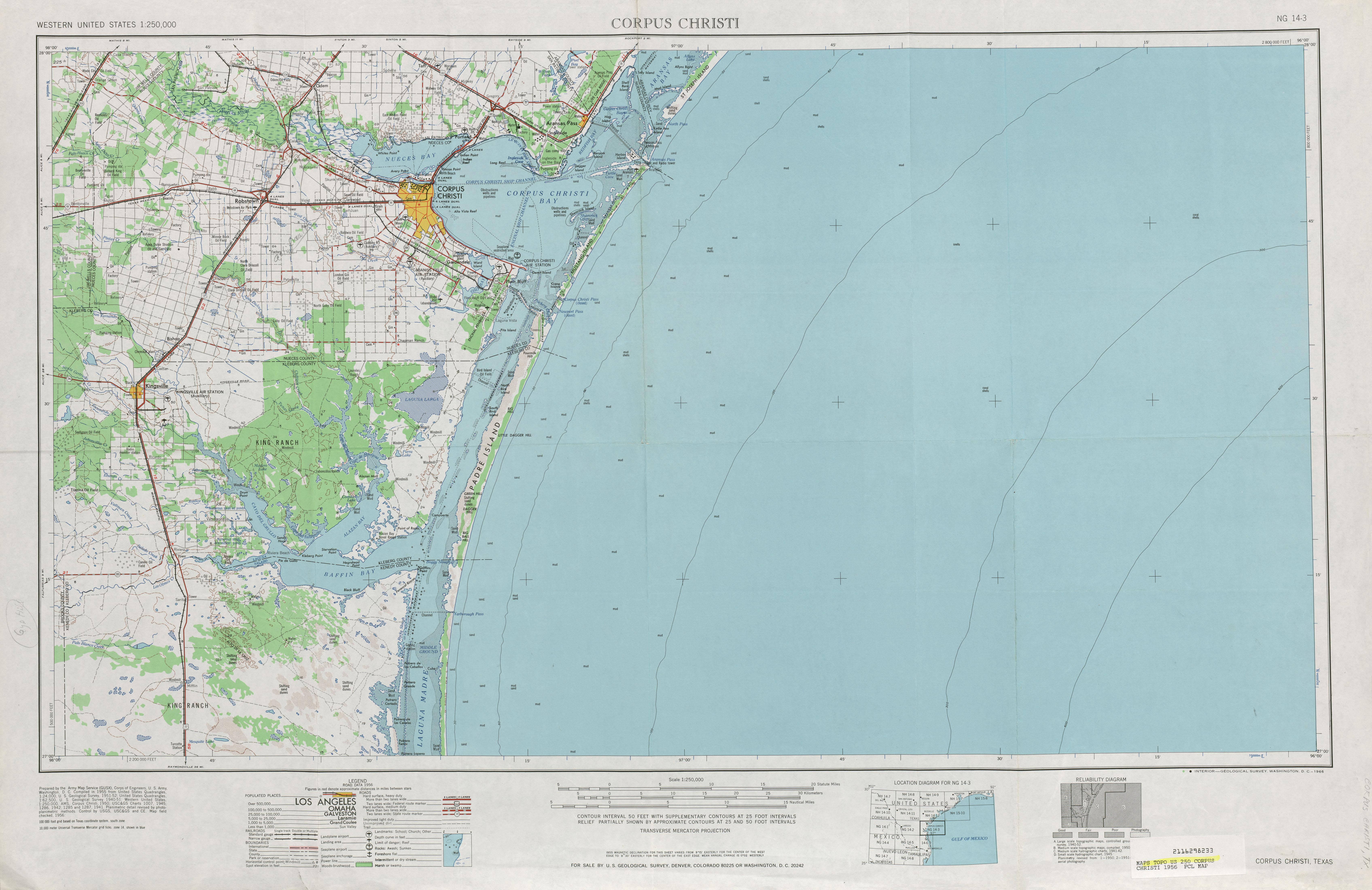 Hoja Corpus Christi del Mapa Topográfico de los Estados Unidos 1956