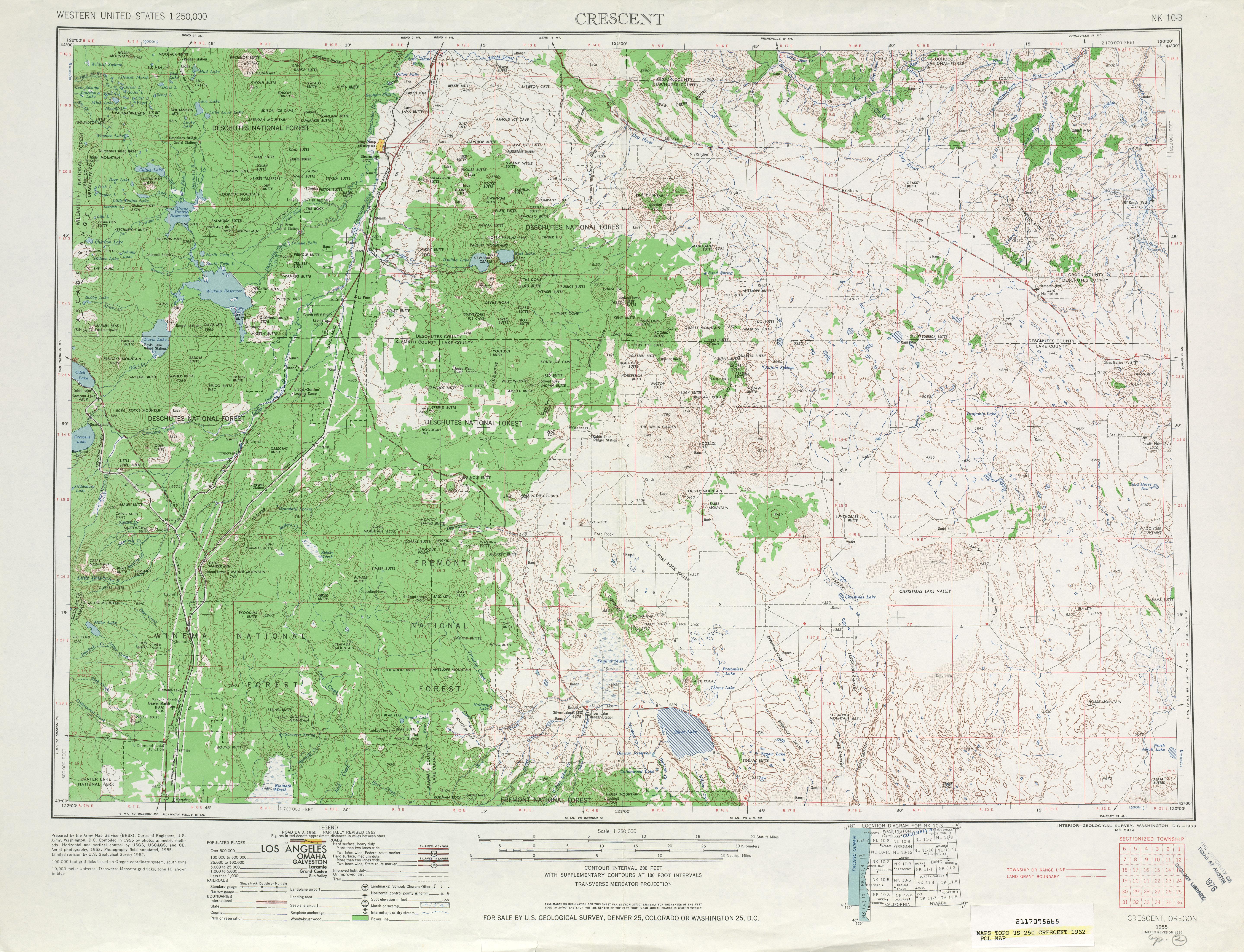 Hoja Crescent del Mapa Topográfico de los Estados Unidos 1962