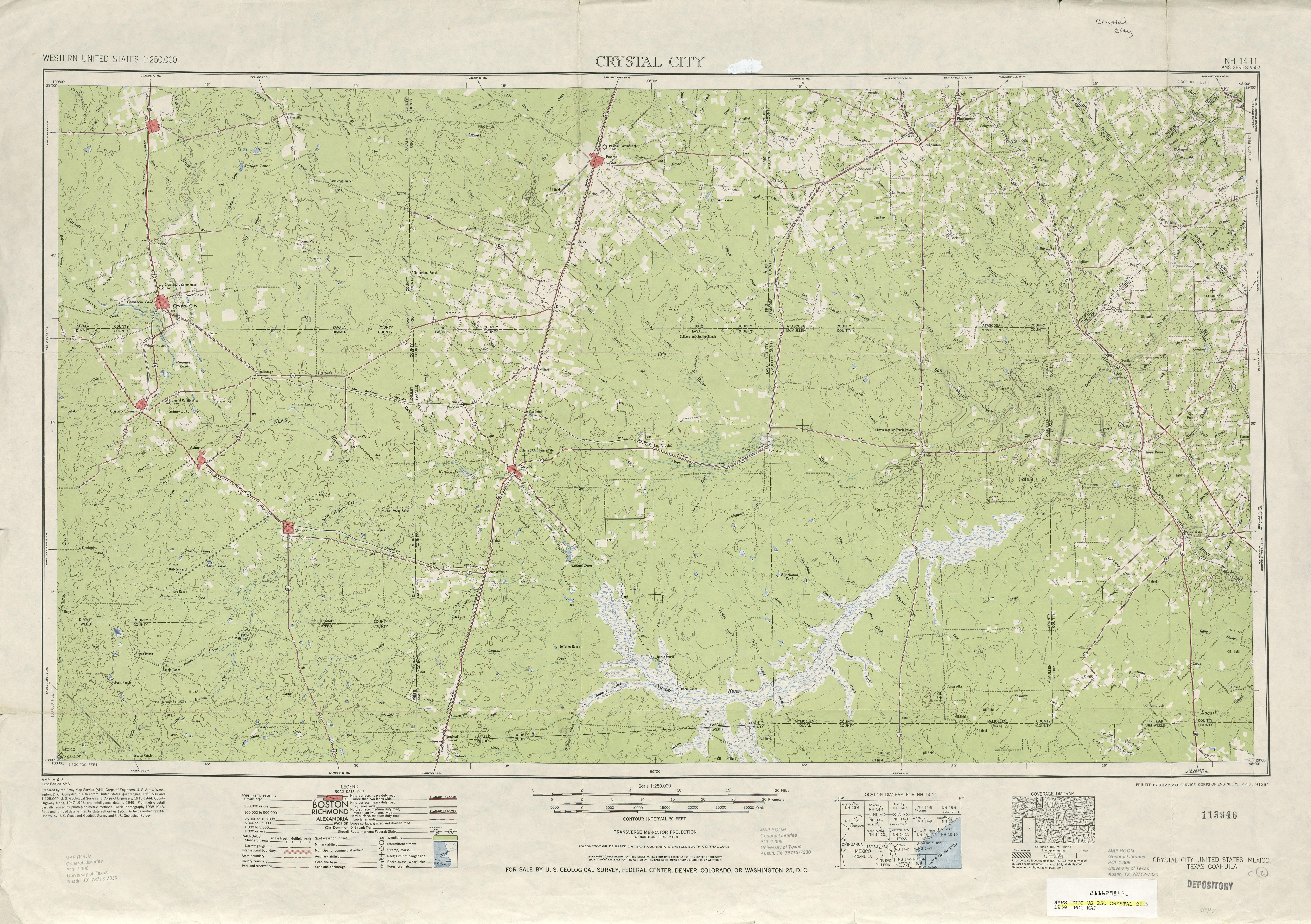 Hoja Crystal City del Mapa Topográfico de los Estados Unidos 1949