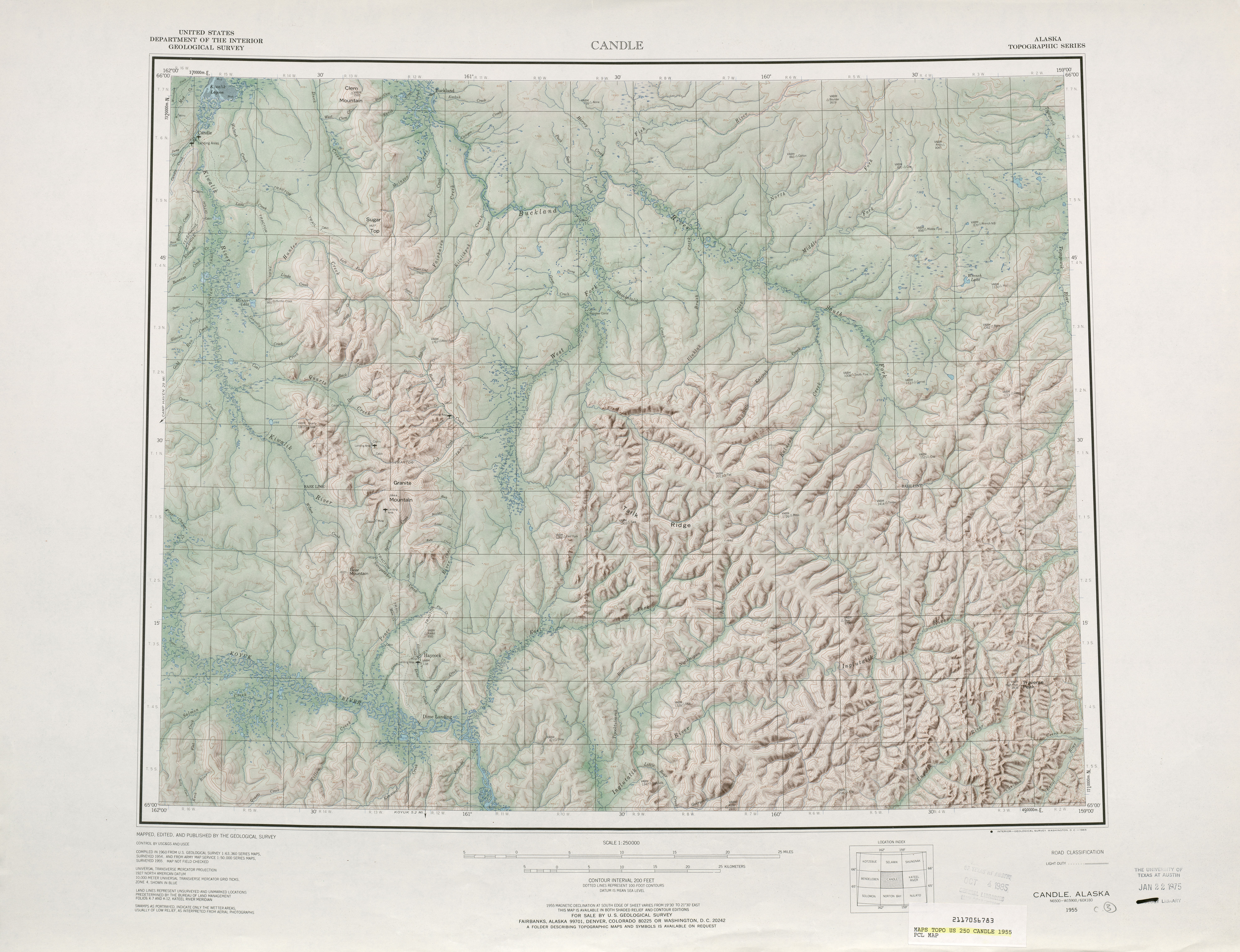 Candle Shaded Relief Map Sheet, United States 1955
