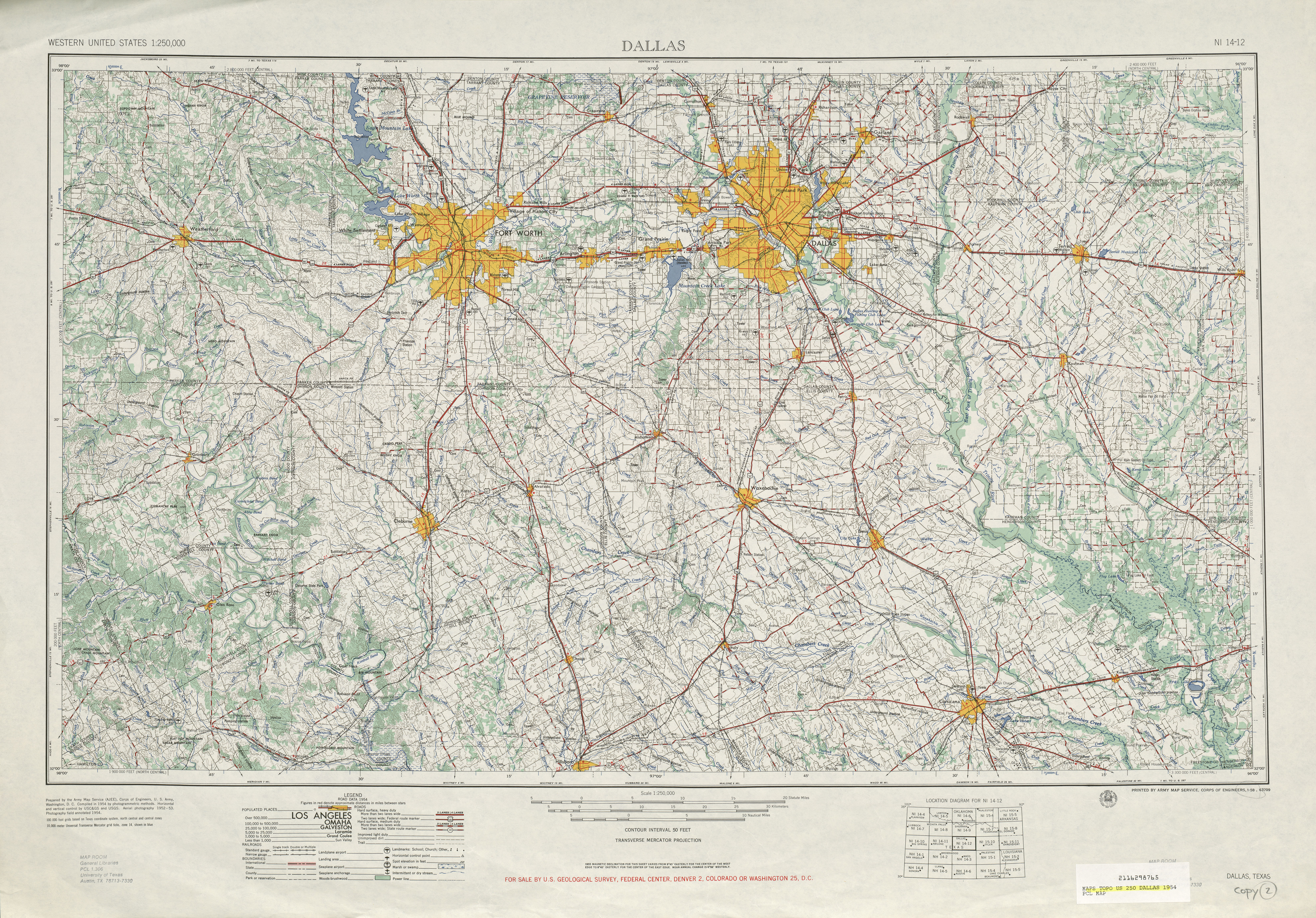 Dallas Topographic Map Sheet, United States 1954
