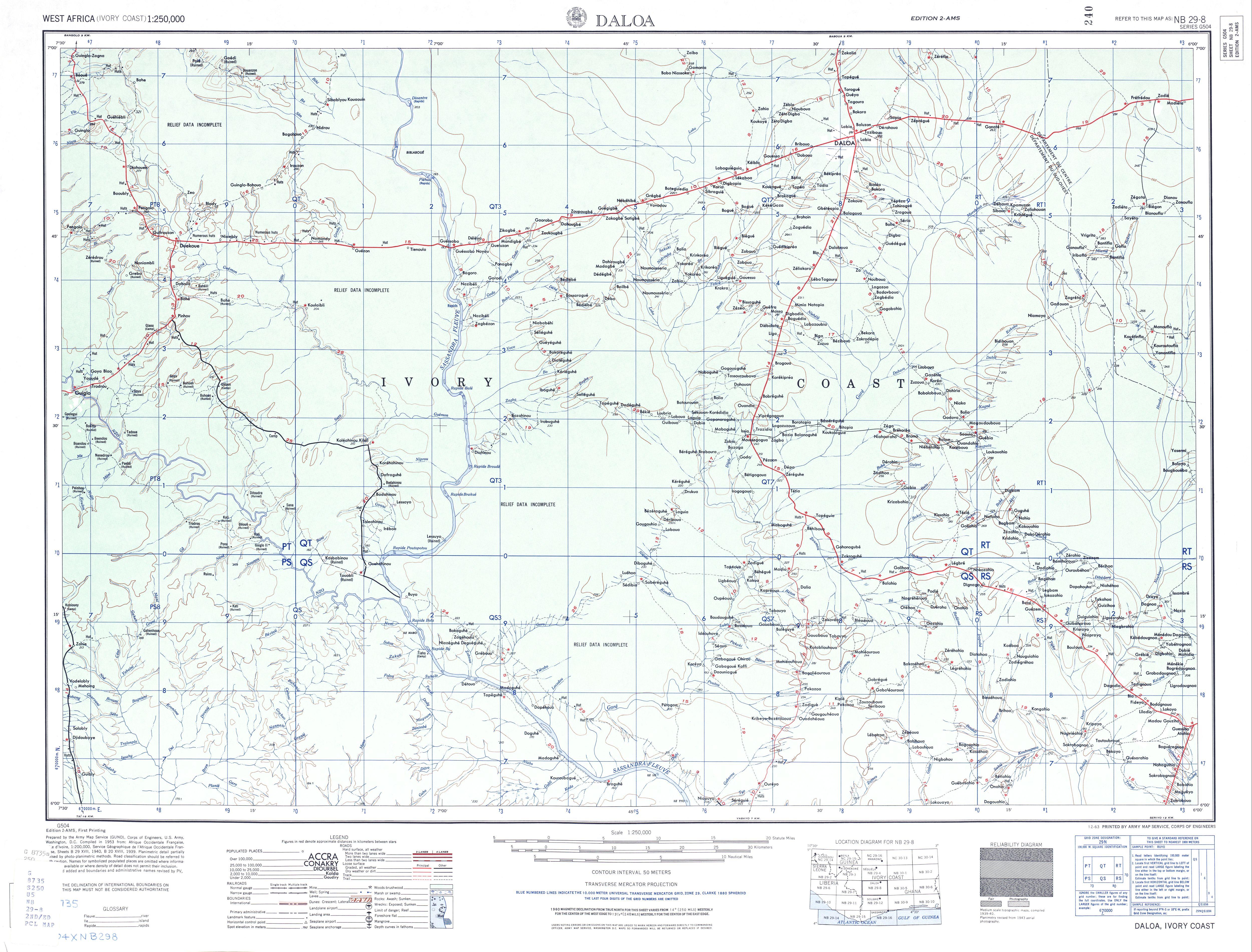 Hoja Daloa del Mapa Topográfico de África Occidental 1955