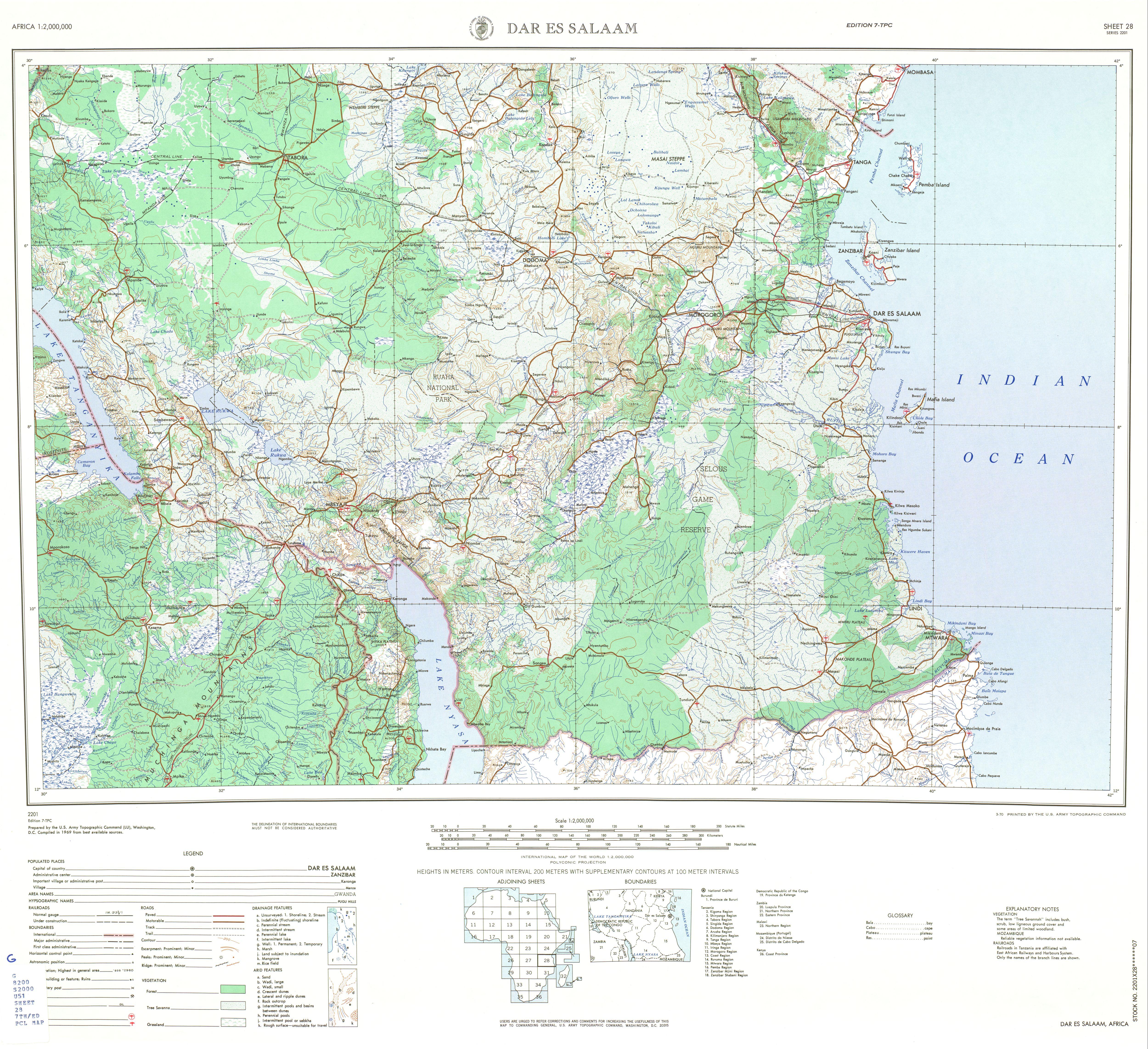 Dar es Salaam Topographic Sheet Map, Africa 1969