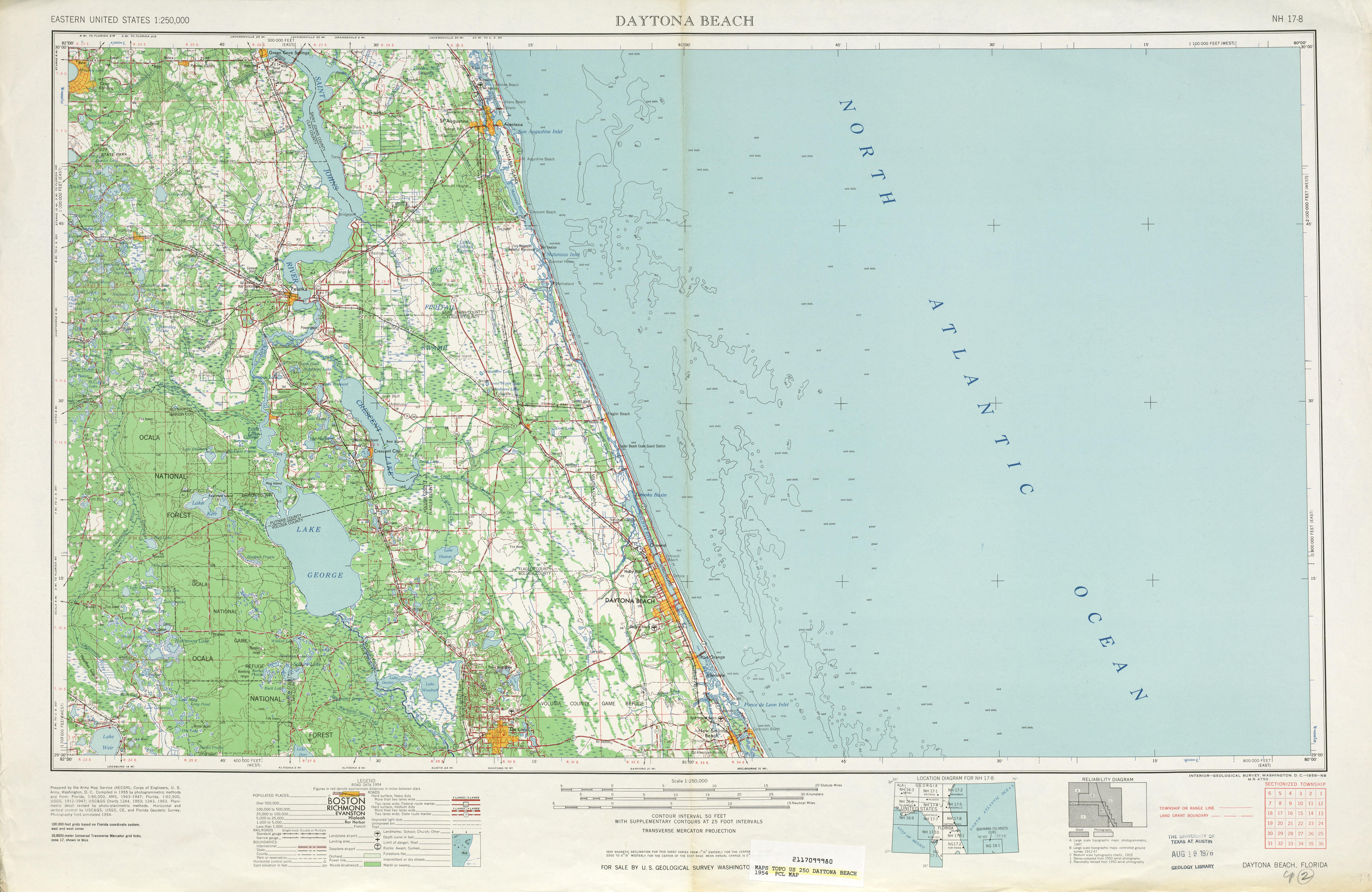 Hoja Daytona Beach del Mapa Topográfico de los Estados Unidos 1954