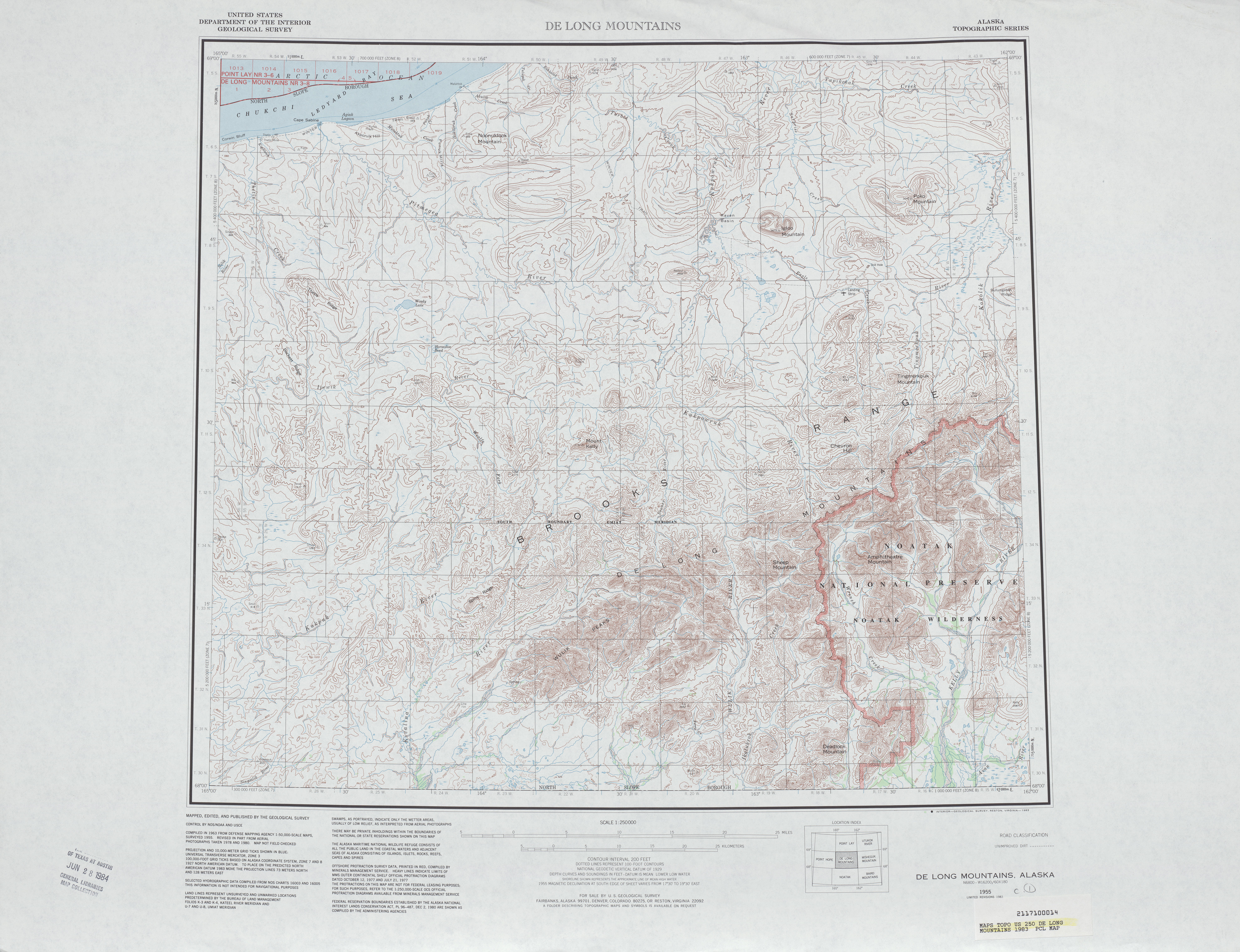 Hoja De Long Mountains del Mapa Topográfico de los Estados Unidos 1983