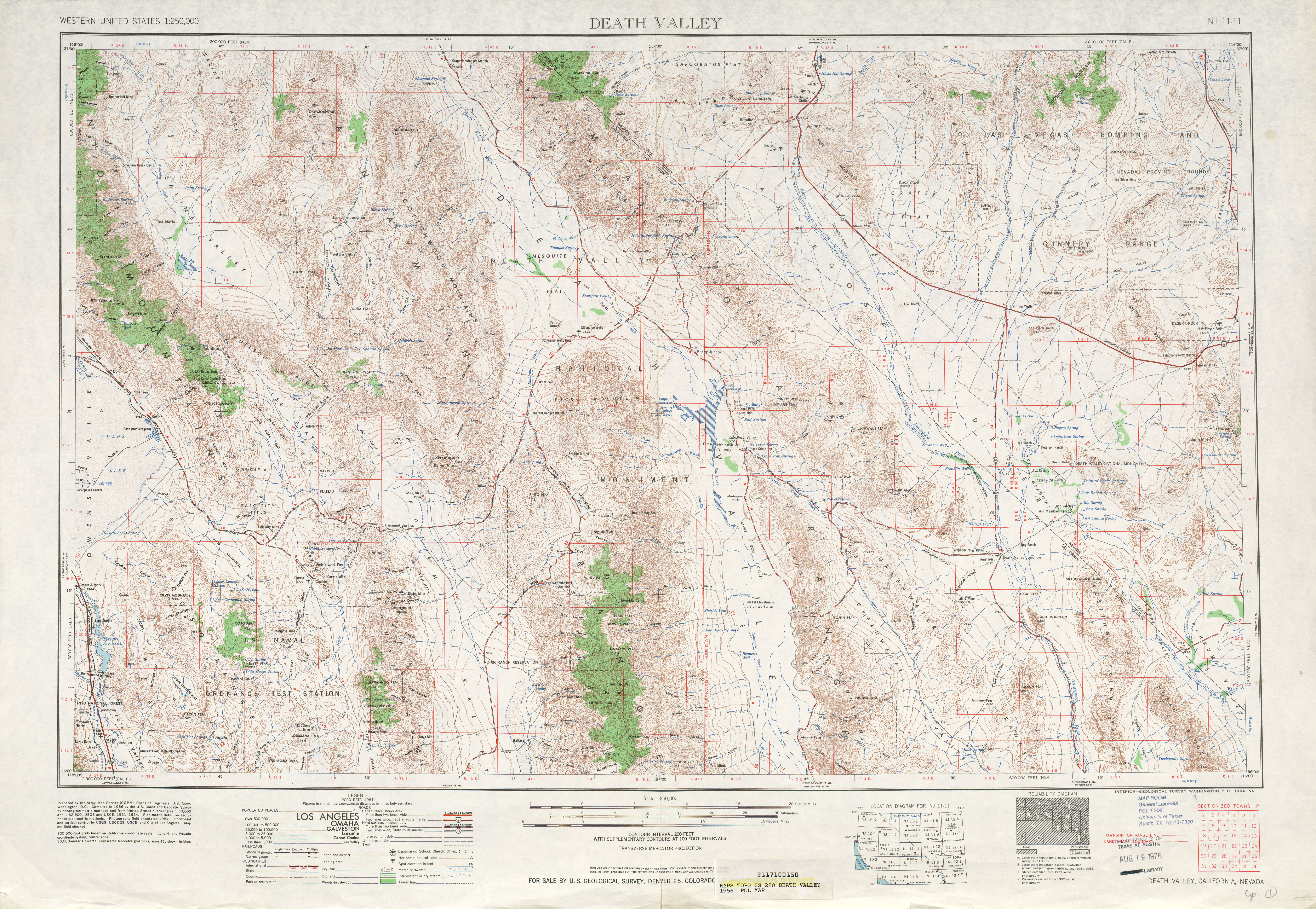 Death Valley Topographic Map Sheet, United States 1956