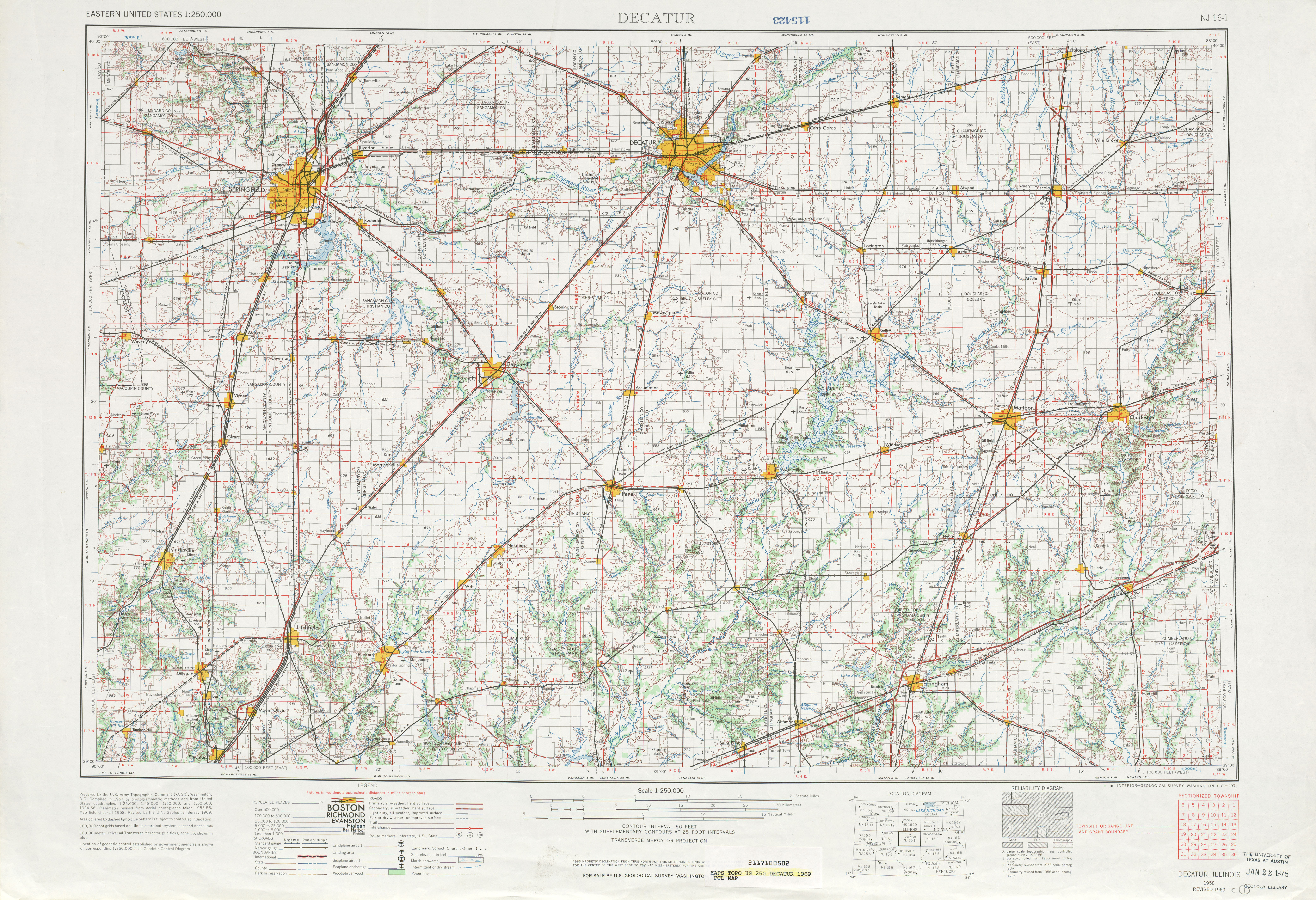Decatur Topographic Map Sheet, United States 1969