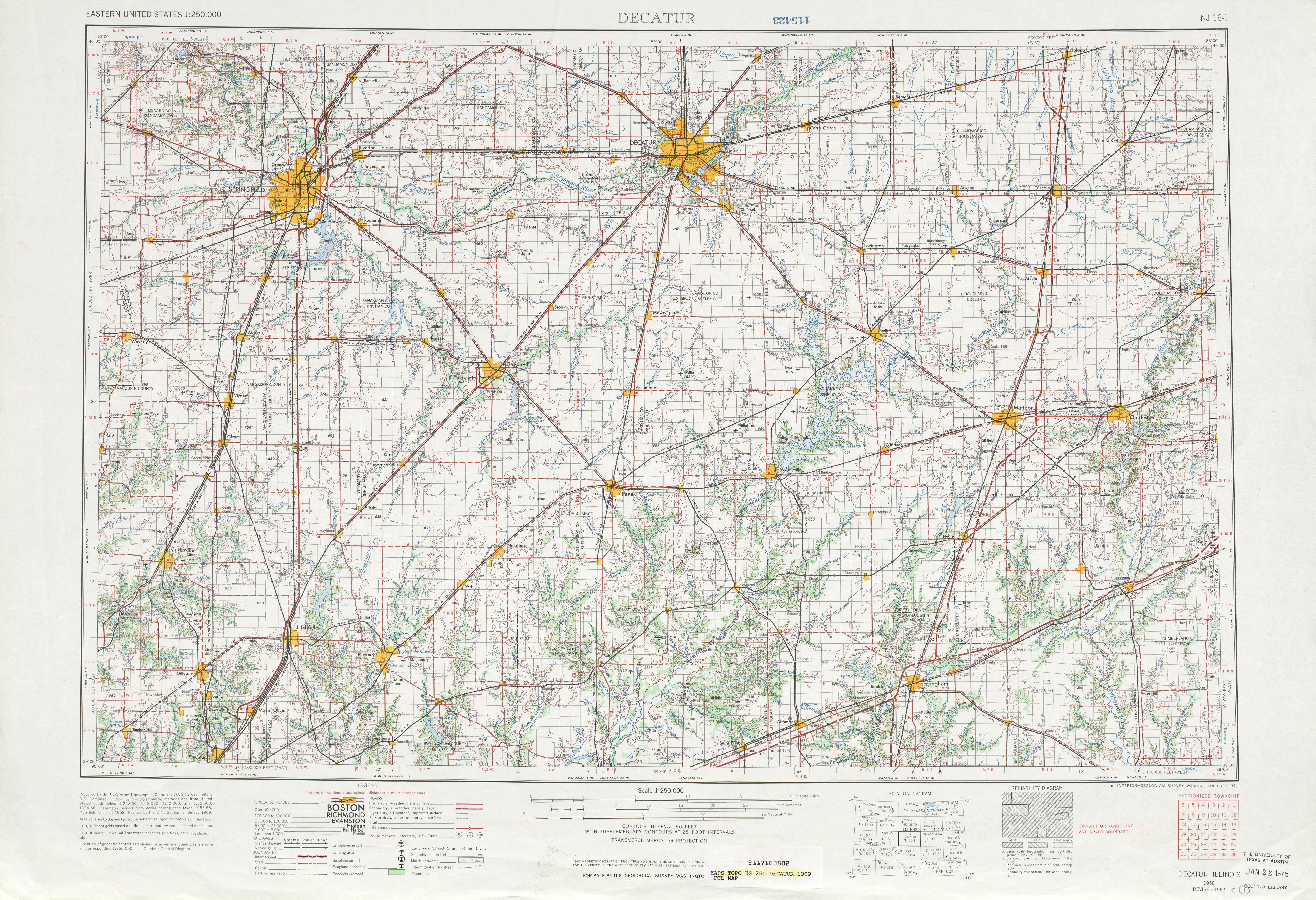 Hoja Decatur del Mapa Topográfico de los Estados Unidos 1969