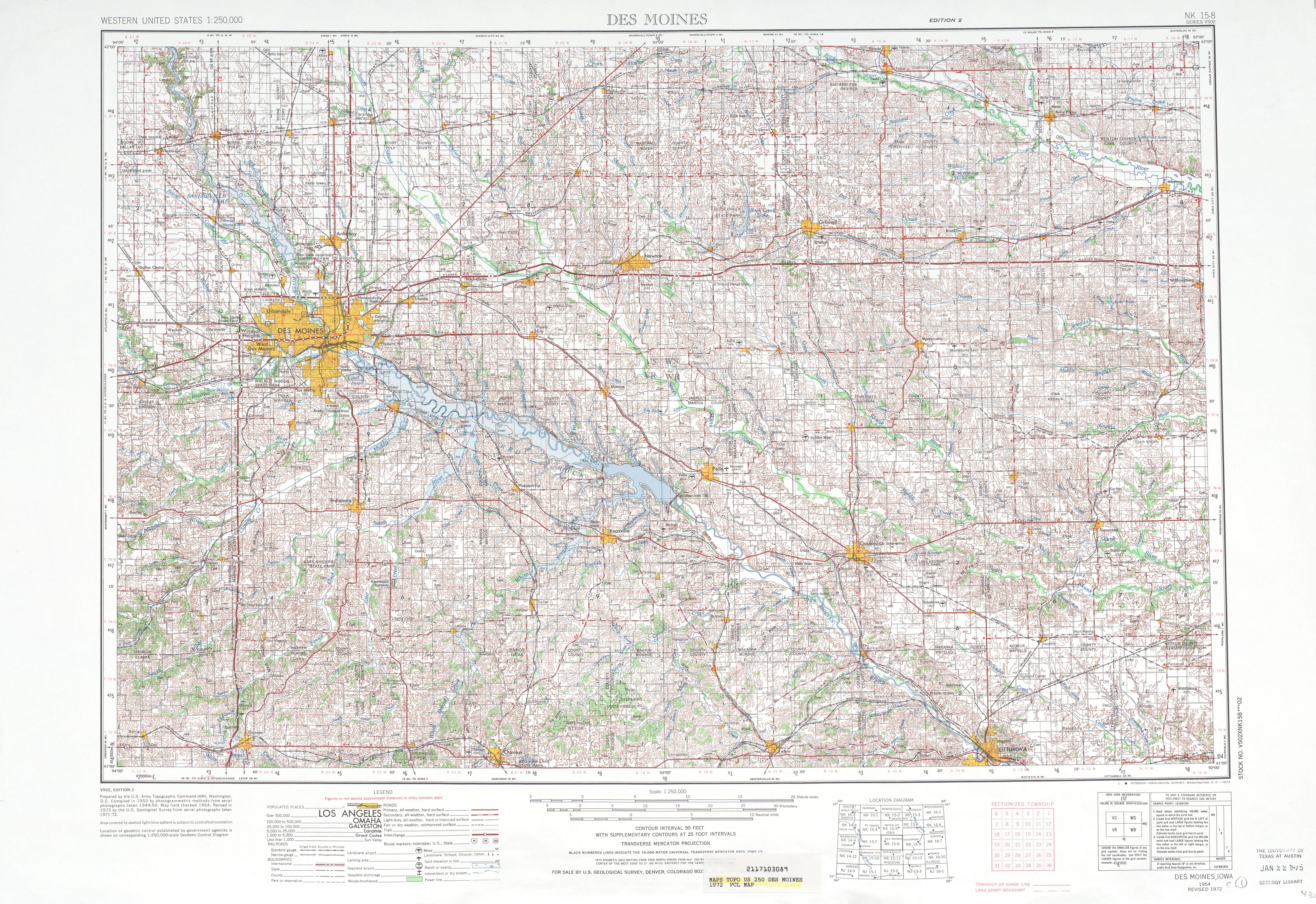 Hoja Des Moines del Mapa Topográfico de los Estados Unidos 1972