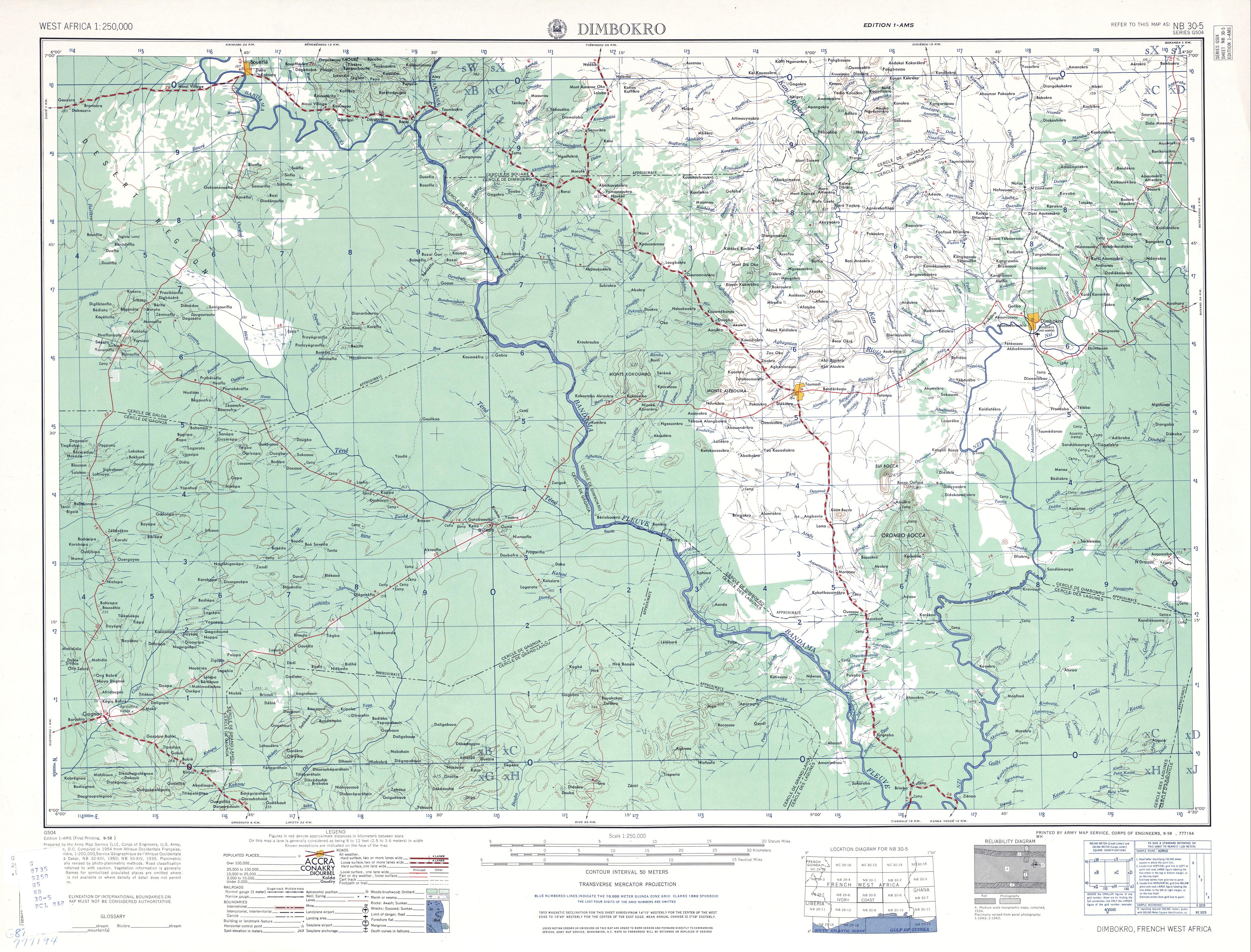 Hoja Dimbokro del Mapa Topográfico de África Occidental 1955