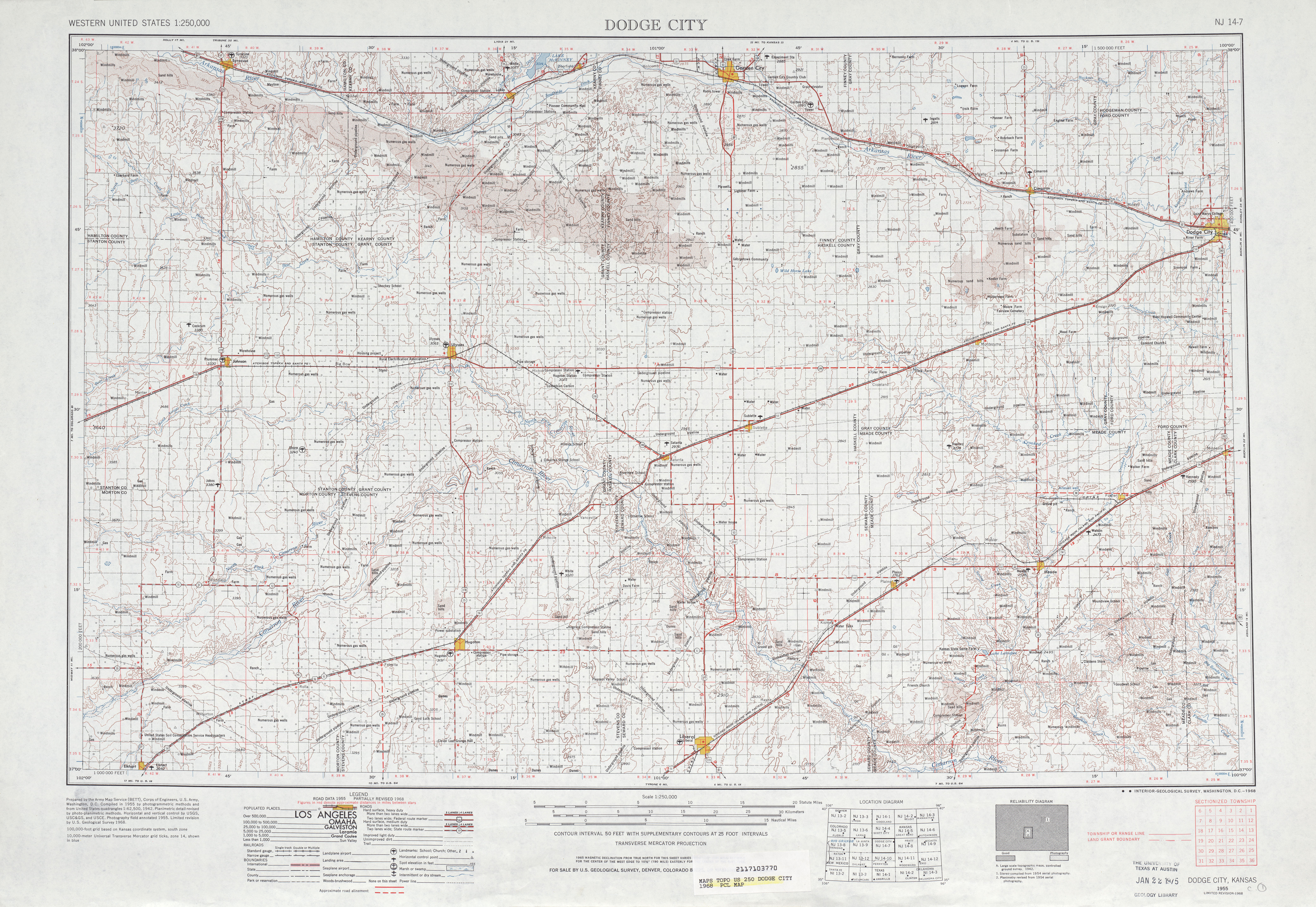 Hoja Dodge City del Mapa Topográfico de los Estados Unidos 1968