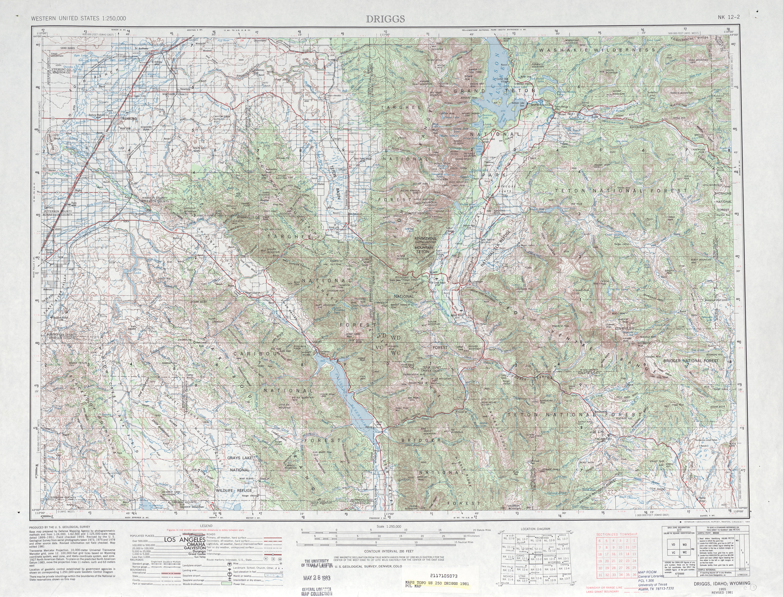 Hoja Driggs  del Mapa Topográfico de los Estados Unidos 1981