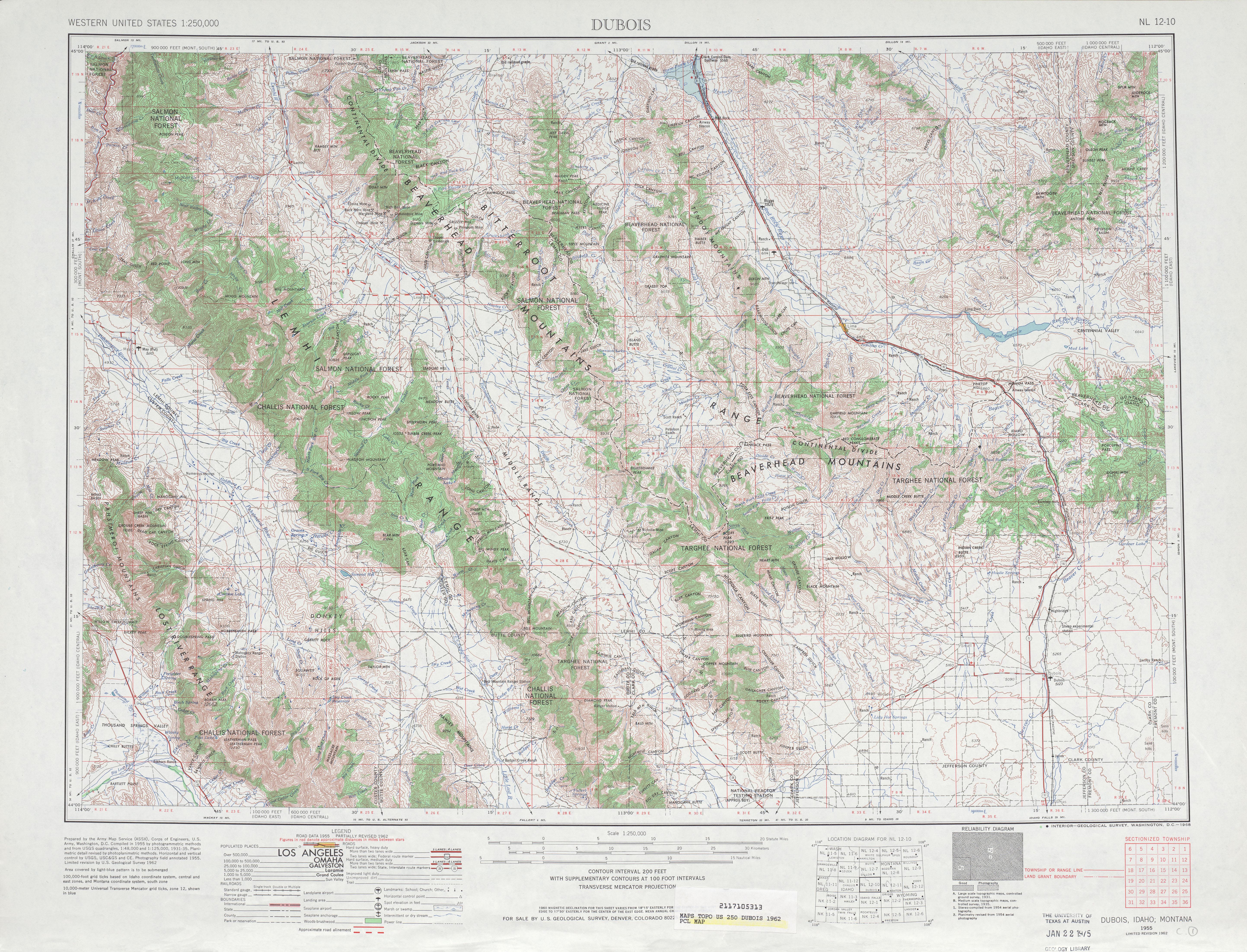 Hoja Dubois del Mapa Topográfico de los Estados Unidos 1962