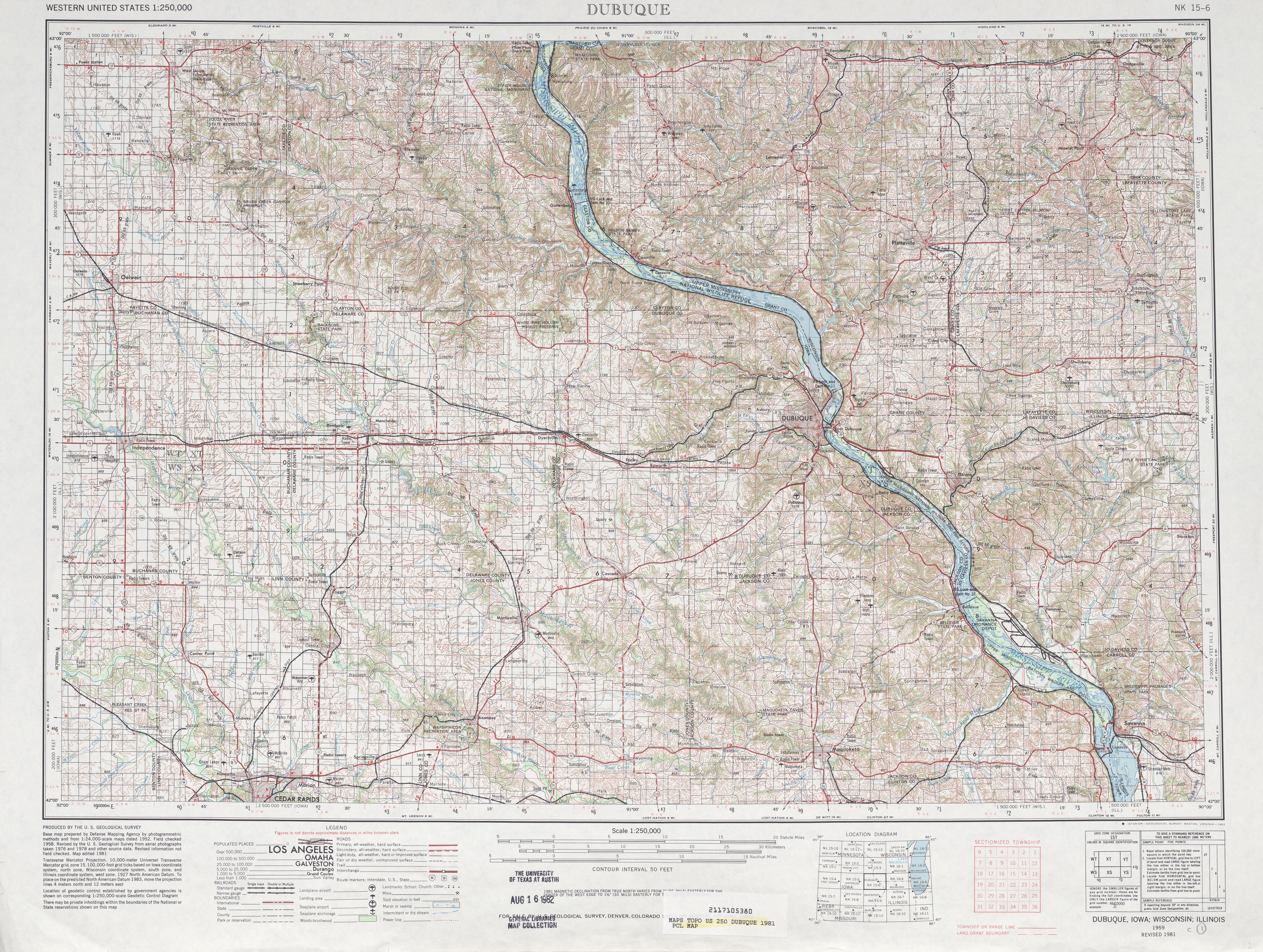Hoja Dubuque del Mapa Topográfico de los Estados Unidos 1981