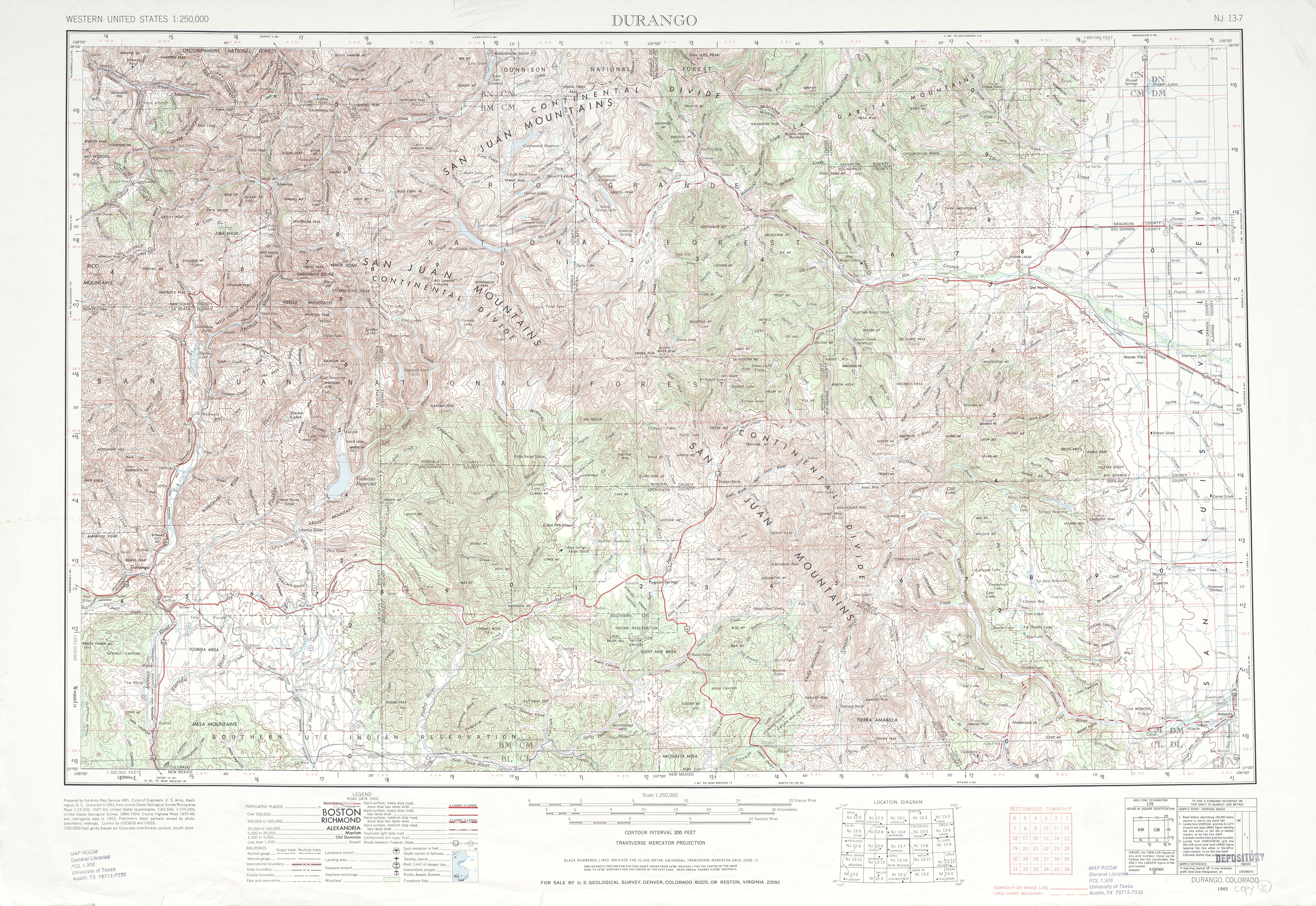 Hoja Durango del Mapa Topográfico de los Estados Unidos 1953