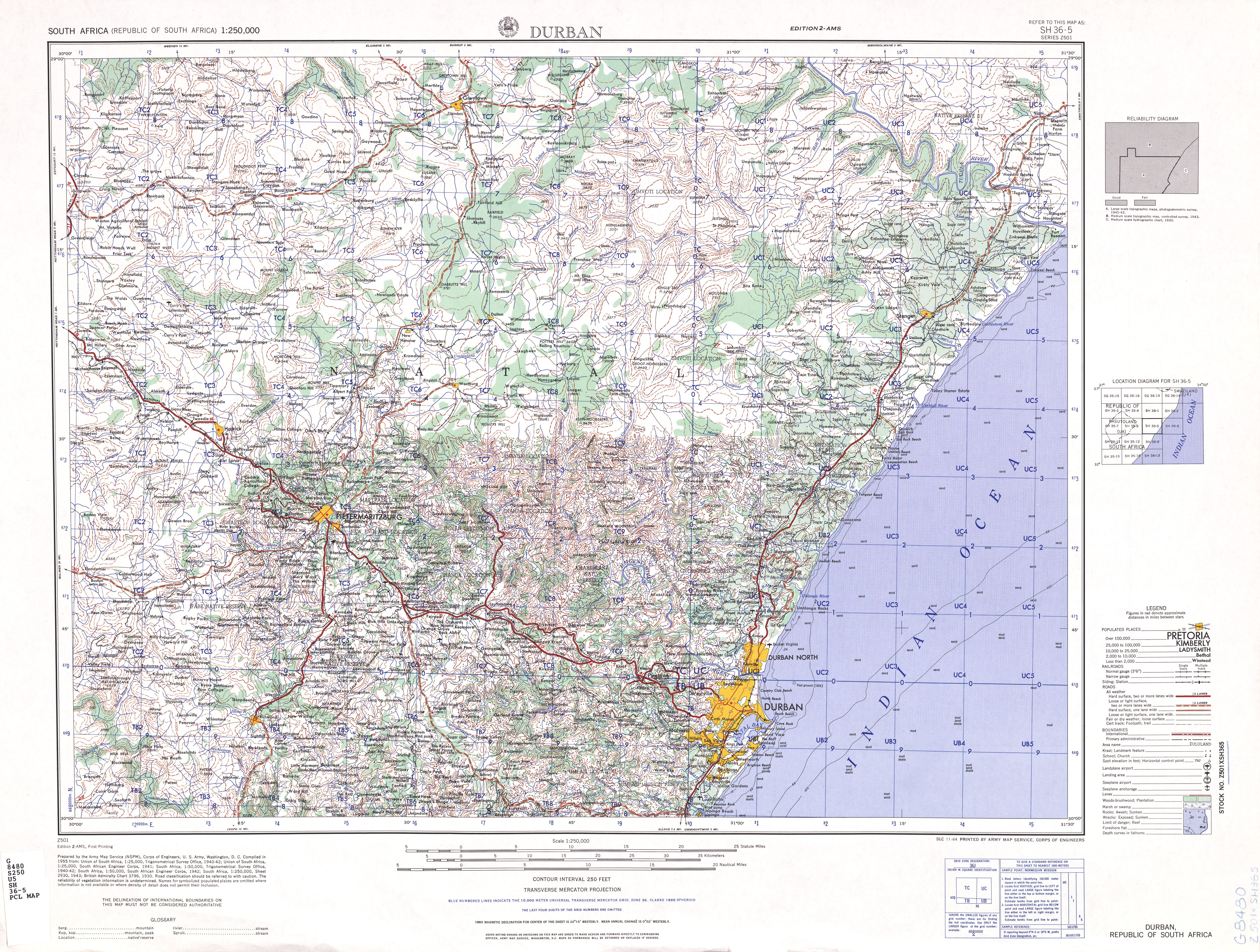 Durban Topographic Map Sheet, South Africa 1954
