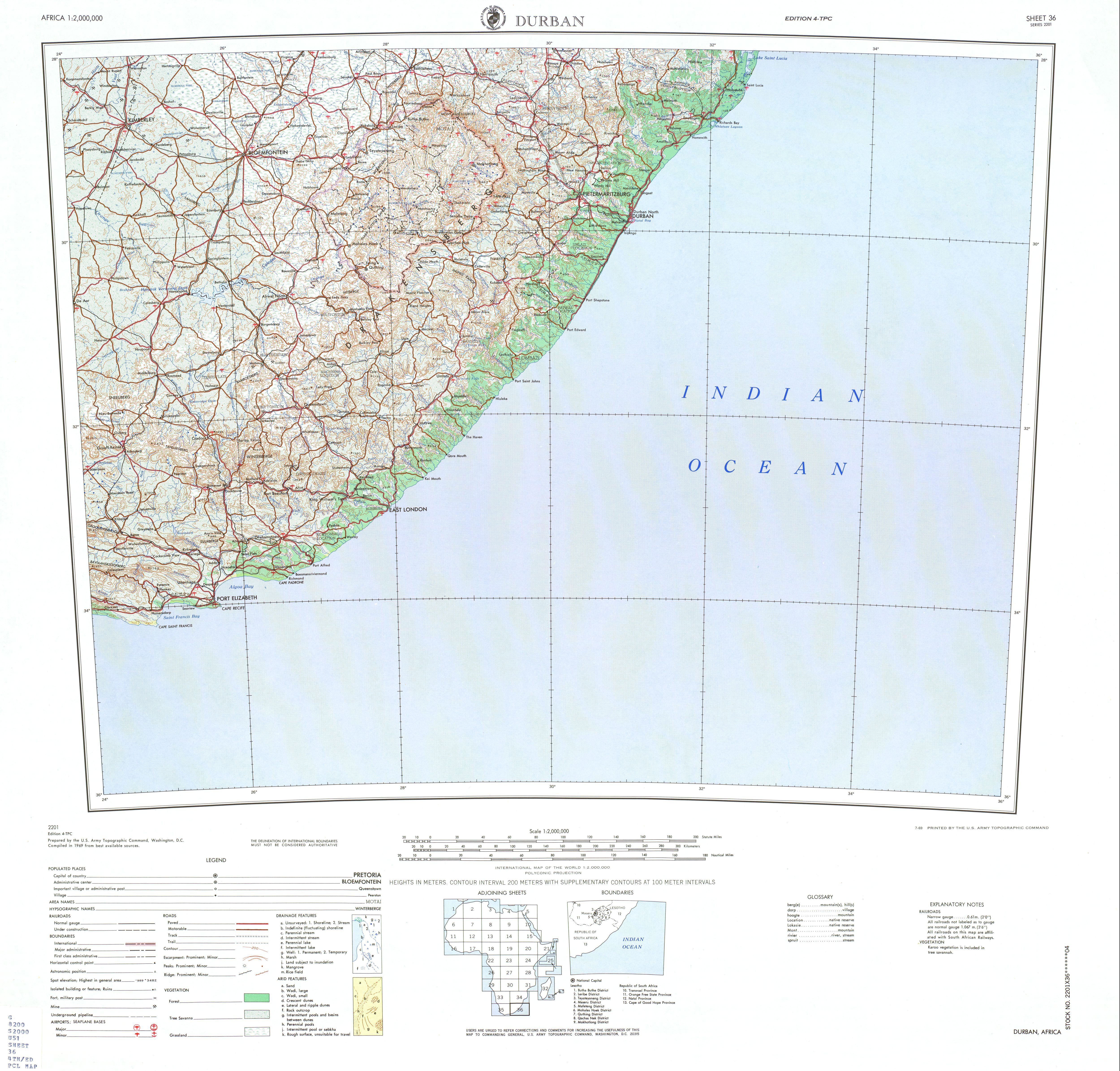 Hoja Durban del Mapa Topográfico de África 1969