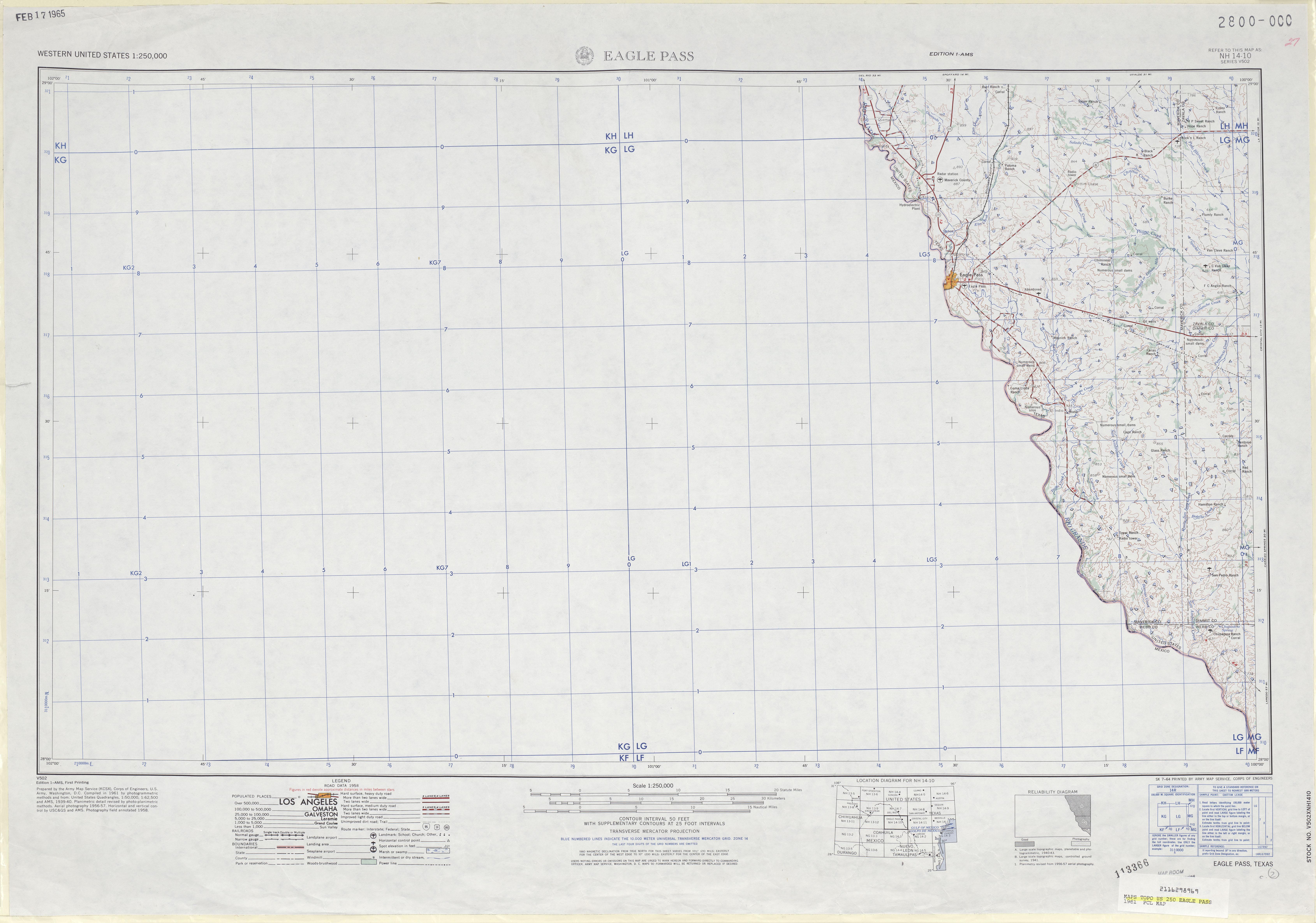 Hoja Eagle Pass del Mapa Topográfico de los Estados Unidos 1961