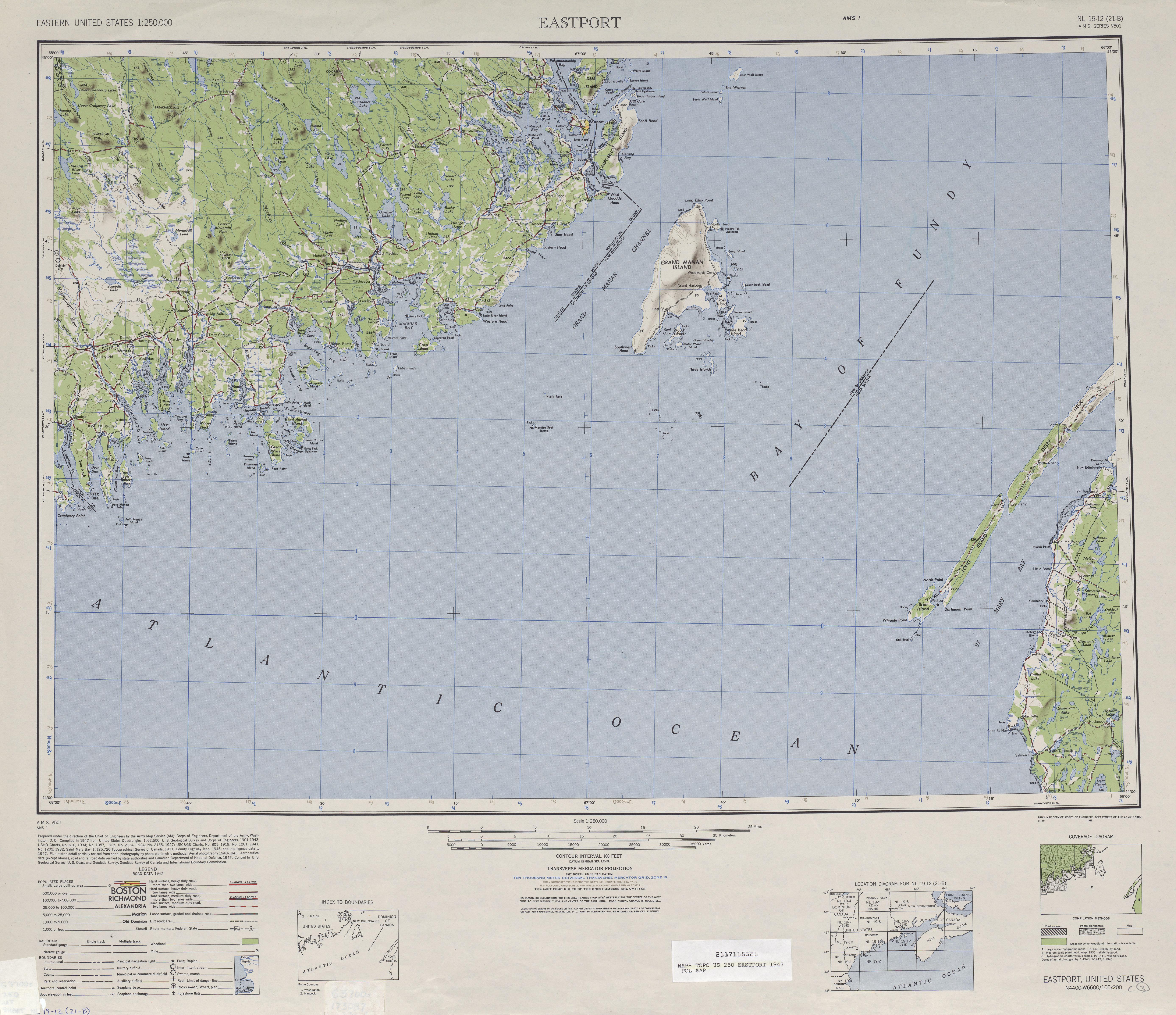 Hoja Eastport del Mapa de Relieve Sombreado de los Estados Unidos 1947