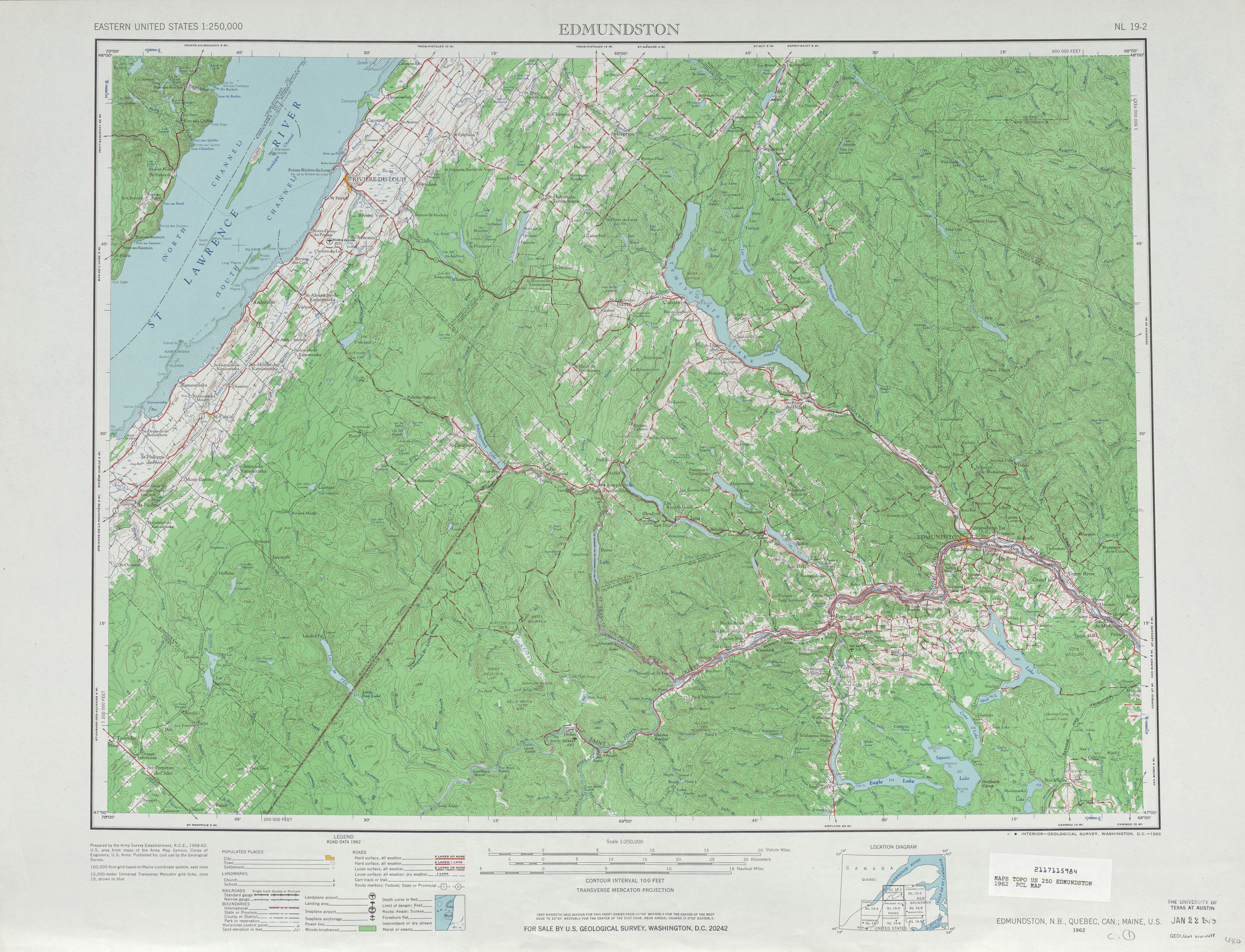 Edmundston Topographic Map Sheet, United States 1962