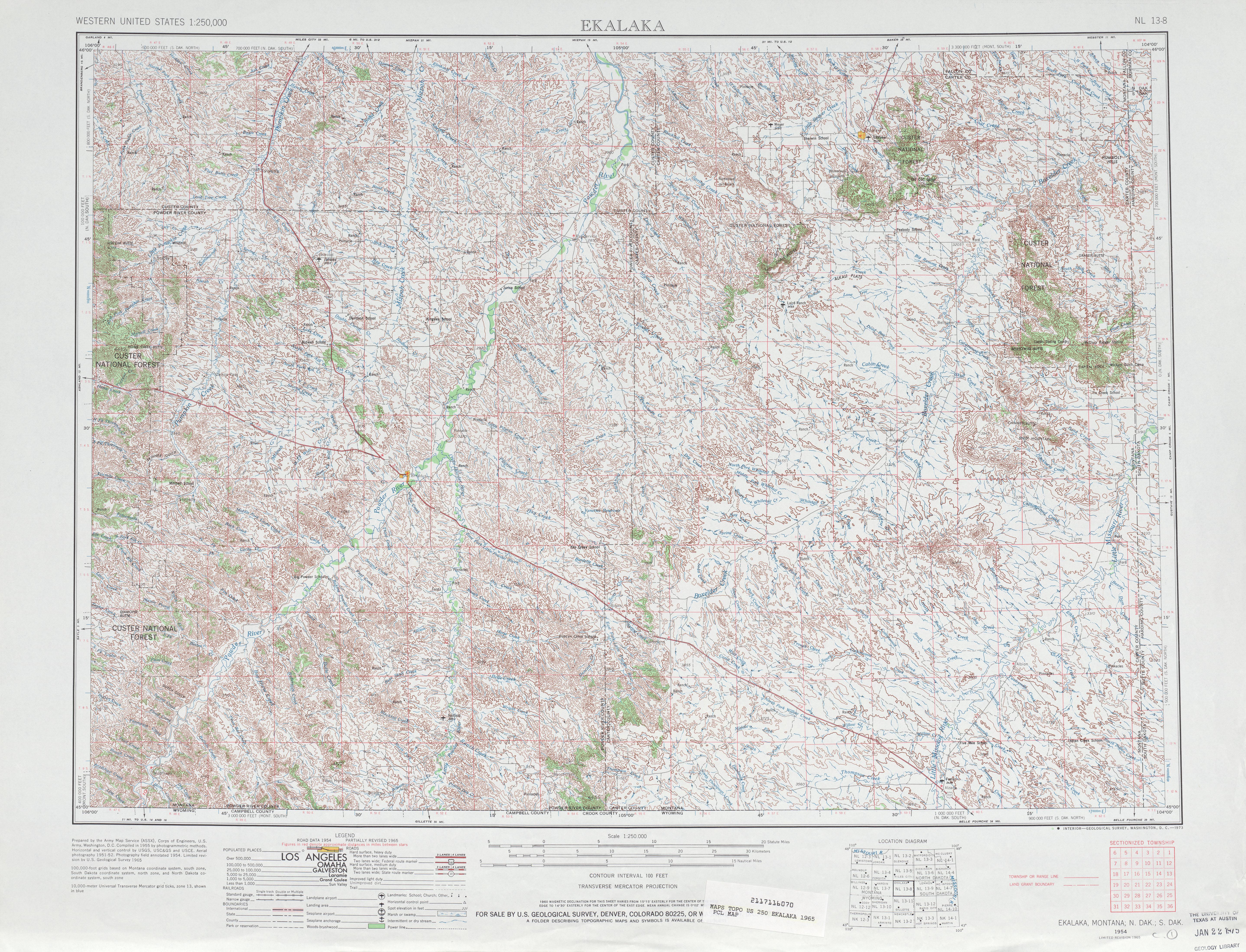 Ekalaka Topographic Map Sheet, United States 1965