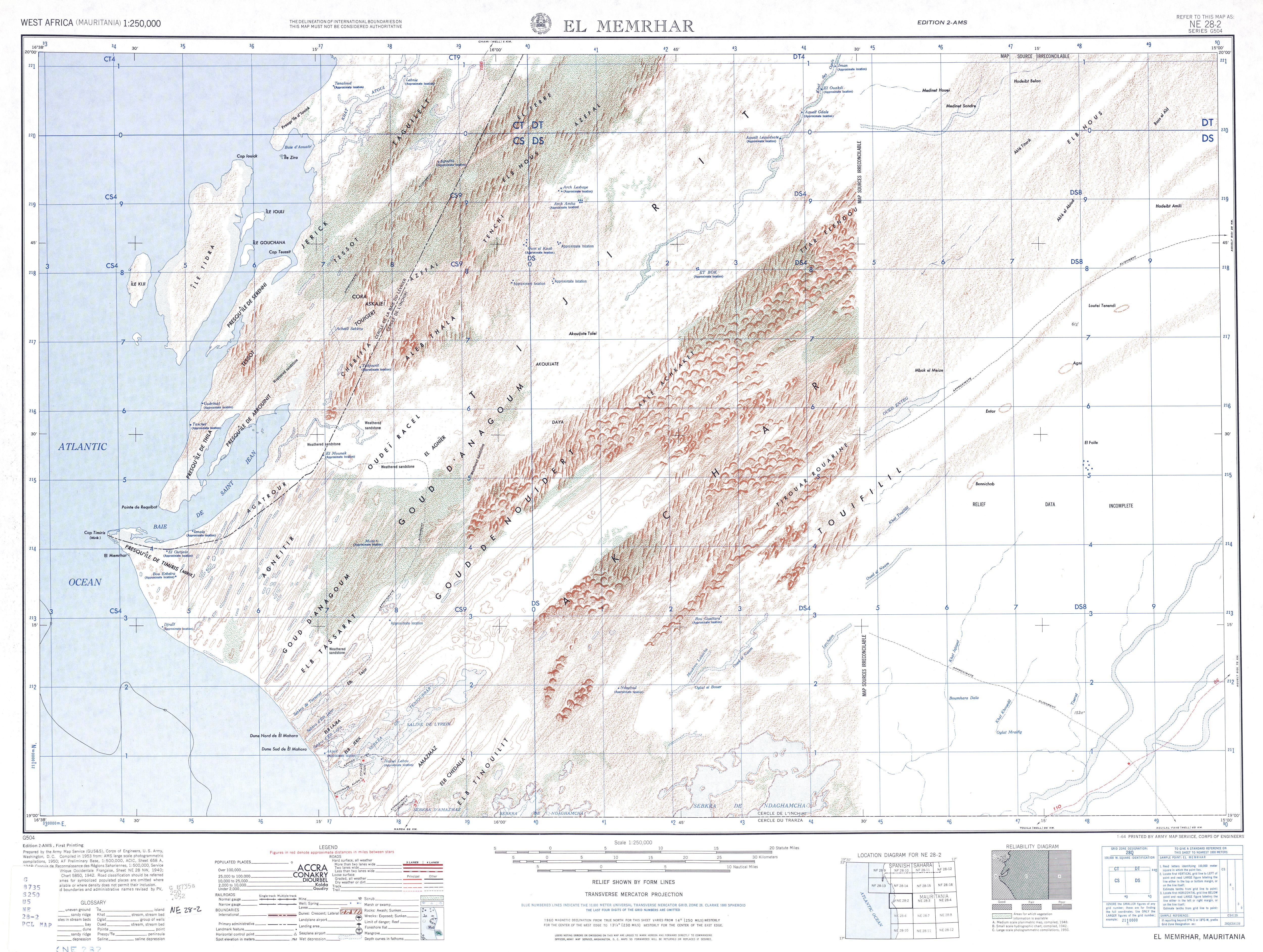 Hoja El Memrhar del Mapa Topográfico de África Occidental 1955