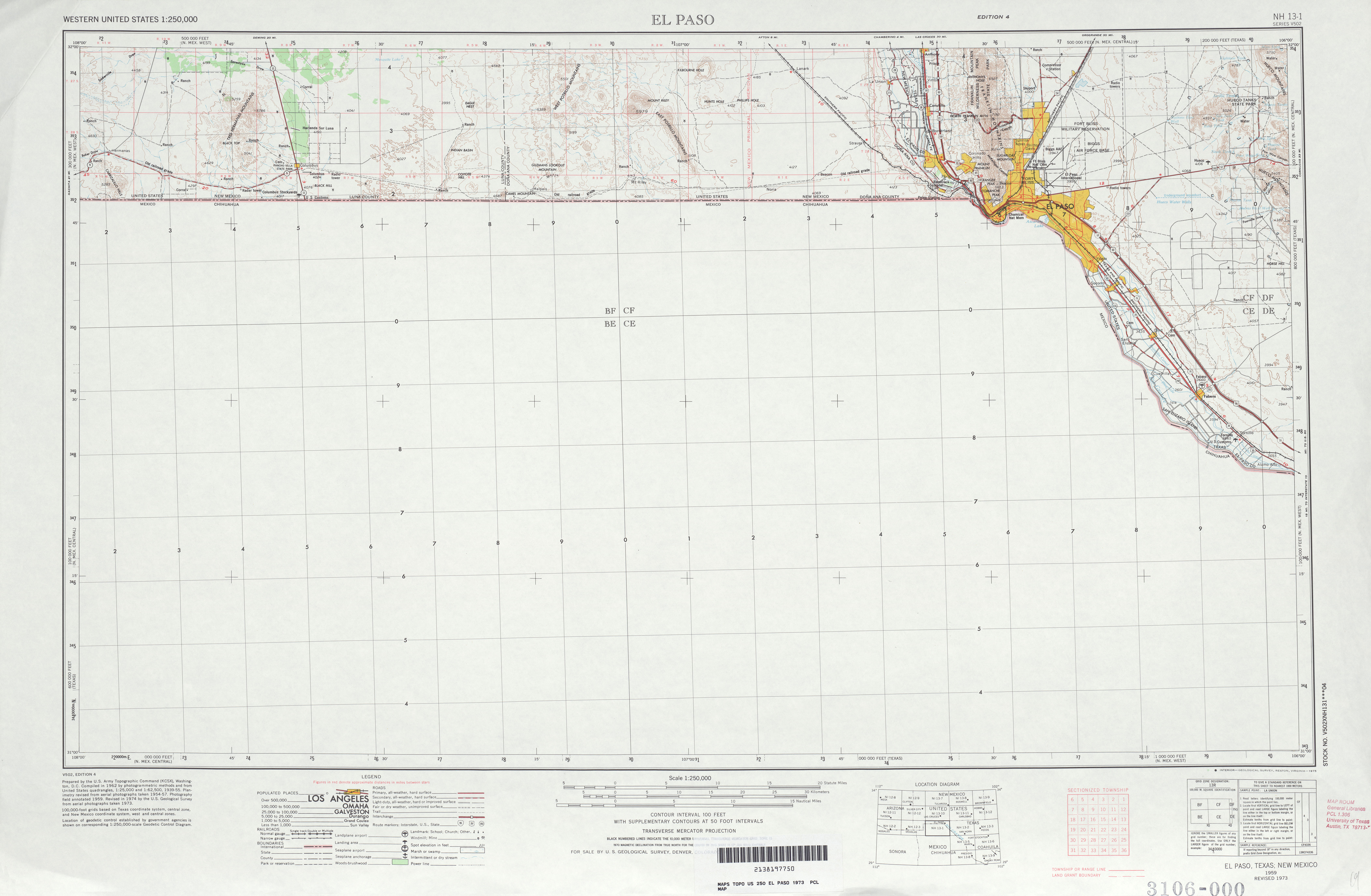 Hoja El Paso del Mapa Topográfico de los Estados Unidos 1973