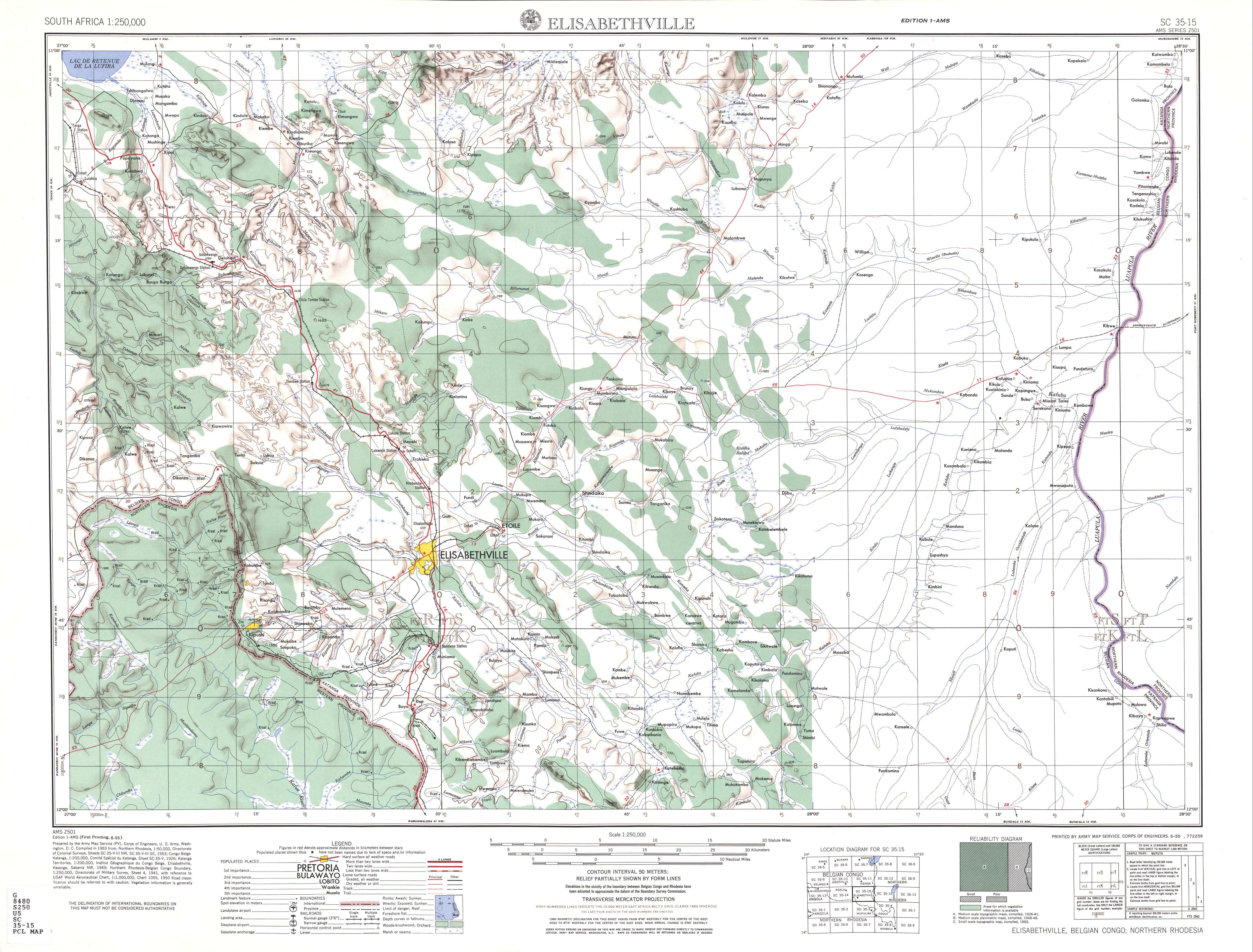 Elisabethville Topographic Map Sheet, Southern Africa 1954