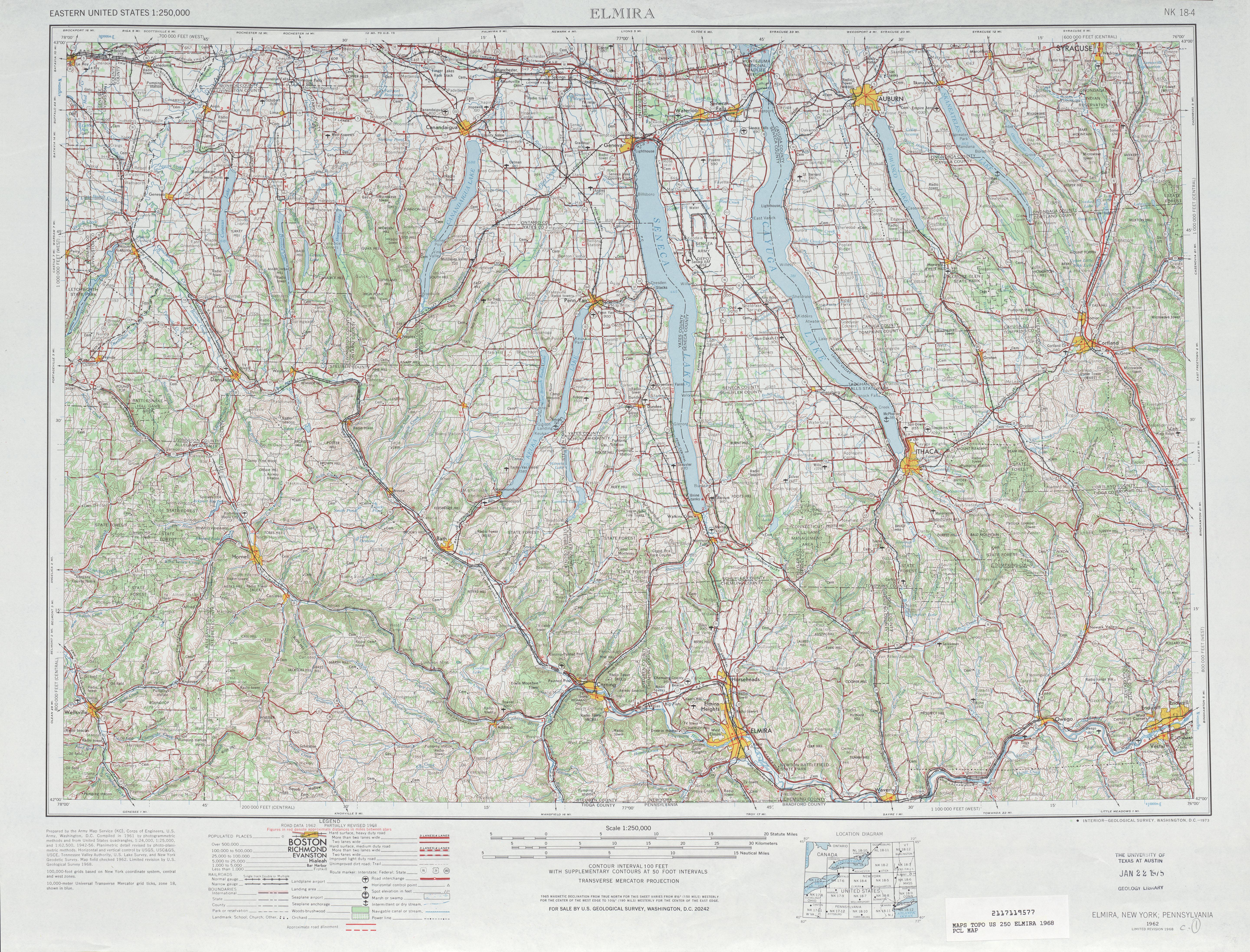 Hoja Elmira del Mapa Topográfico de los Estados Unidos 1968