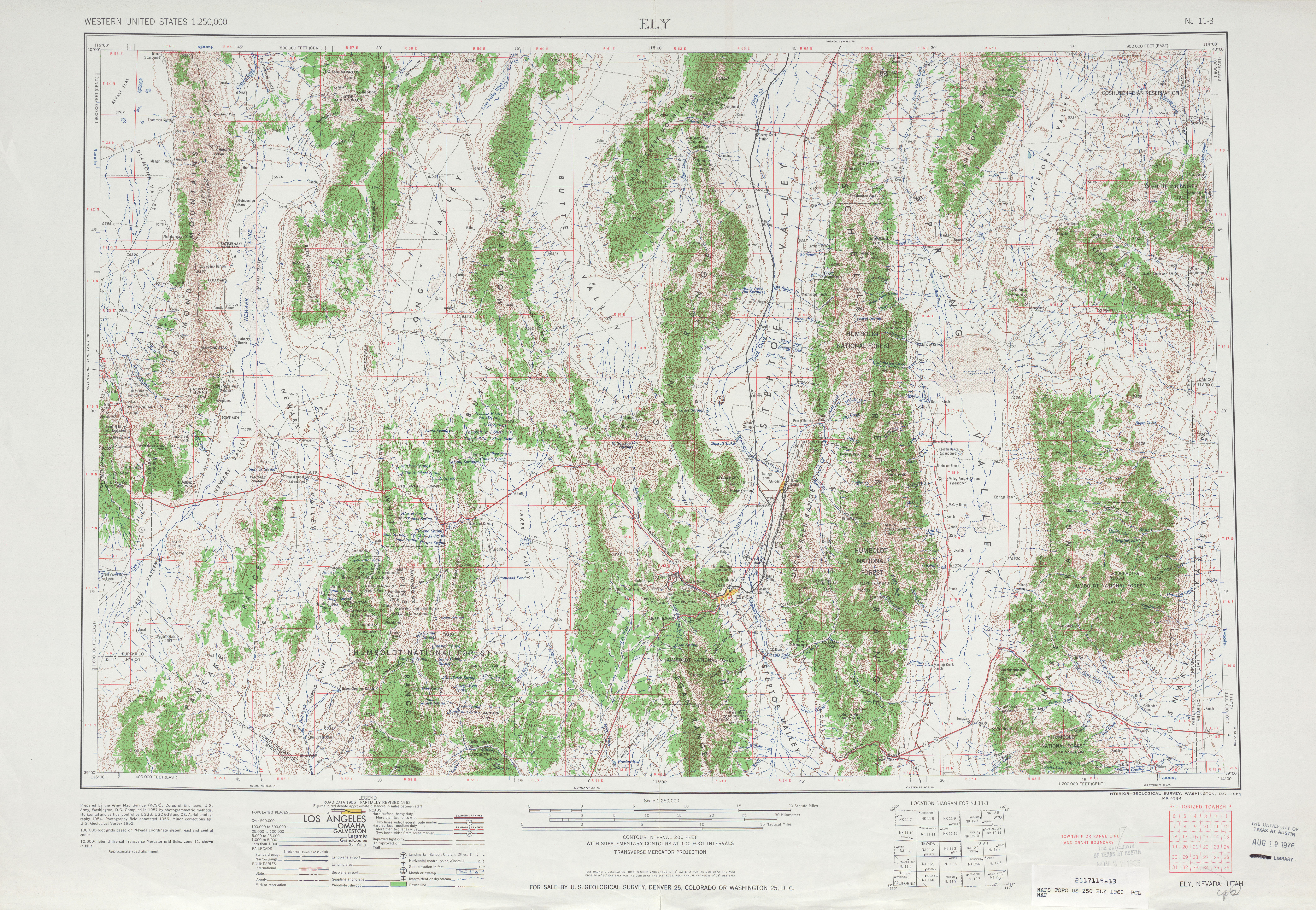 Ely Topographic Map Sheet, United States 1962