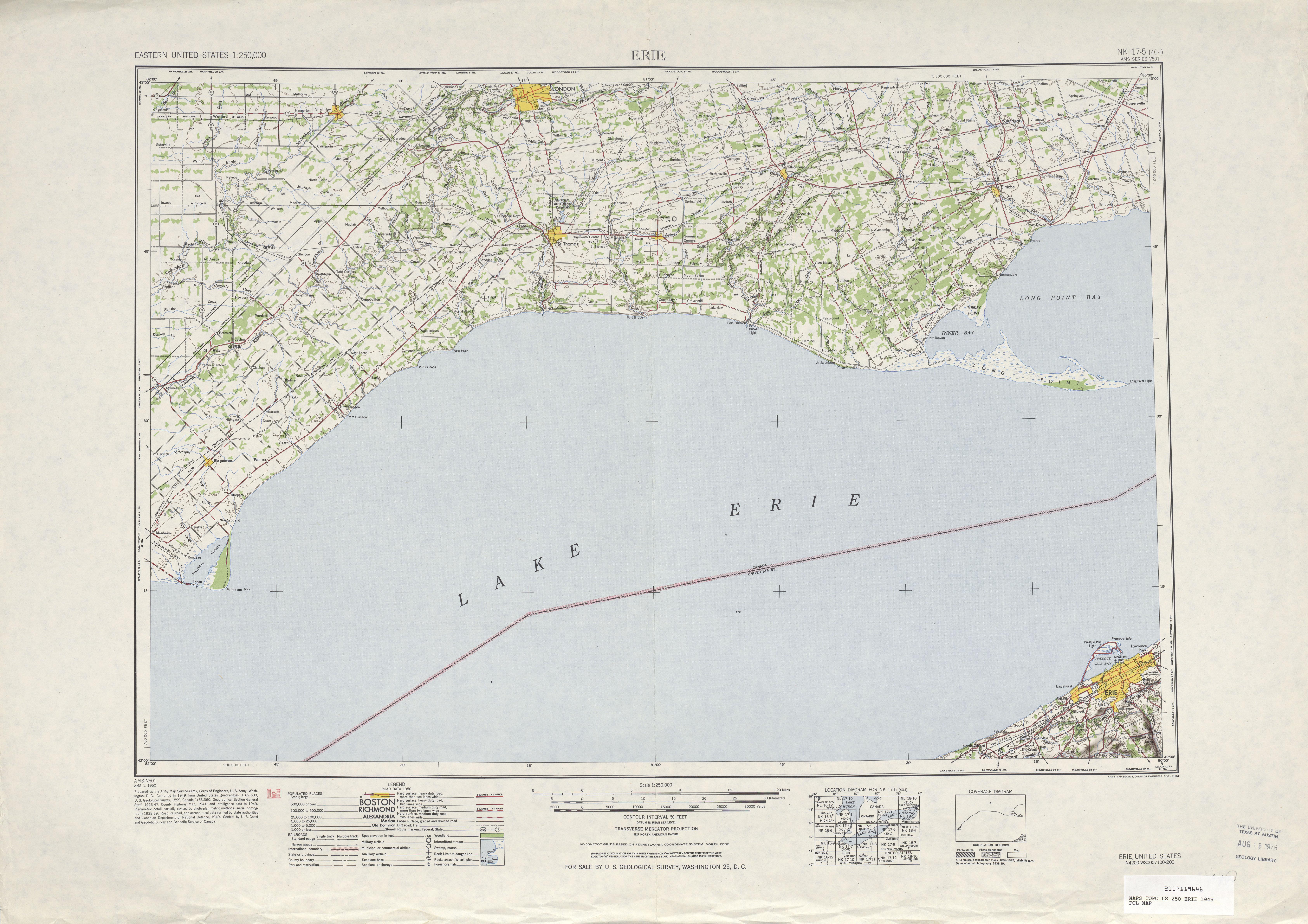 Hoja Erie del Mapa Topográfico de los Estados Unidos 1949